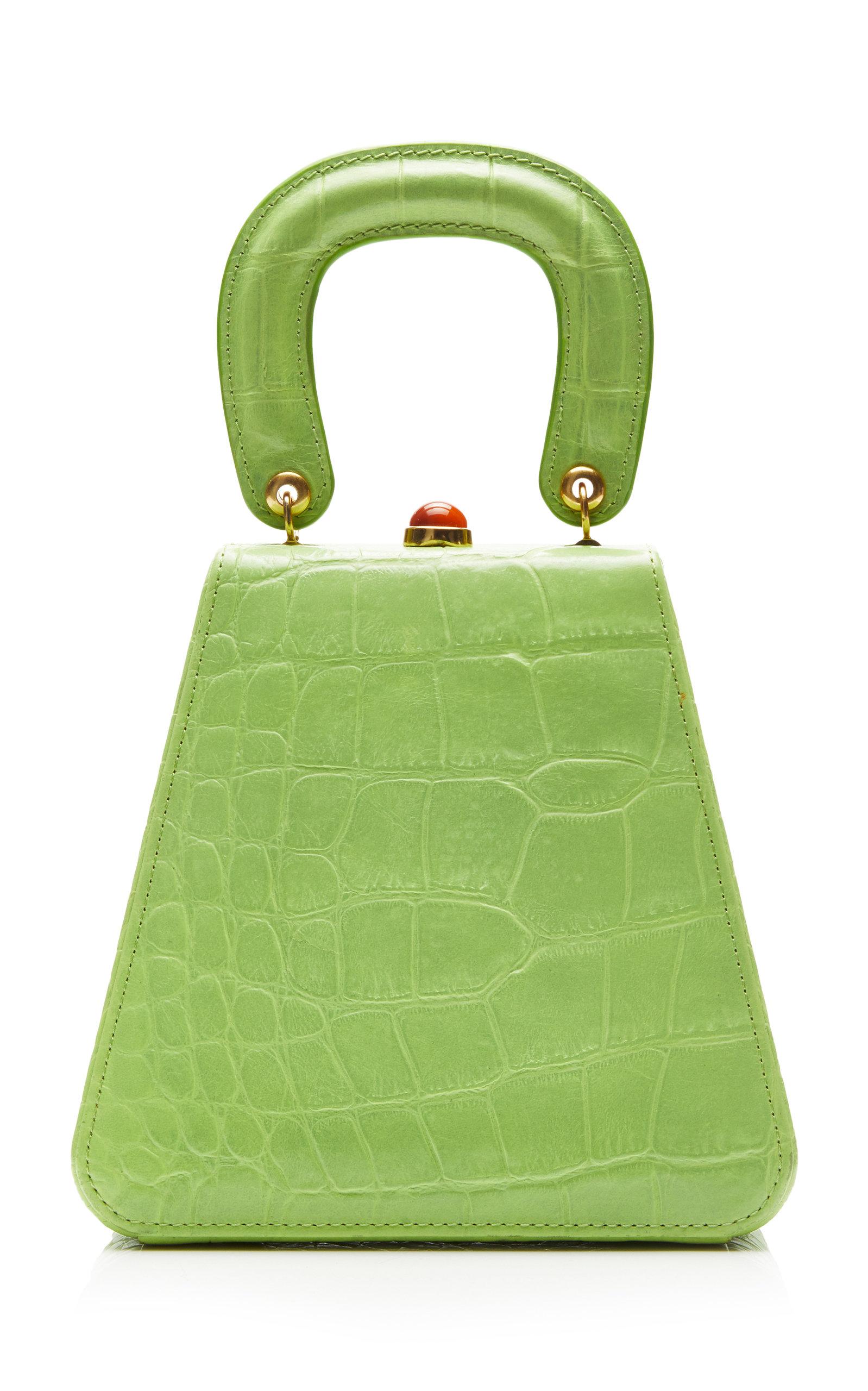 STAUD | Staud Kenny Croc-Effect Leather Top Handle Bag | Goxip