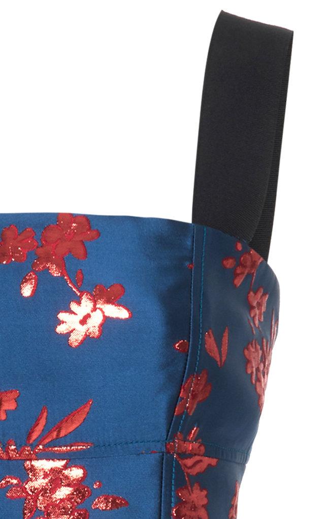 Carolina Herrera Dresses Grosgrain-Trimmed Satin-Jacquard Midi Dress