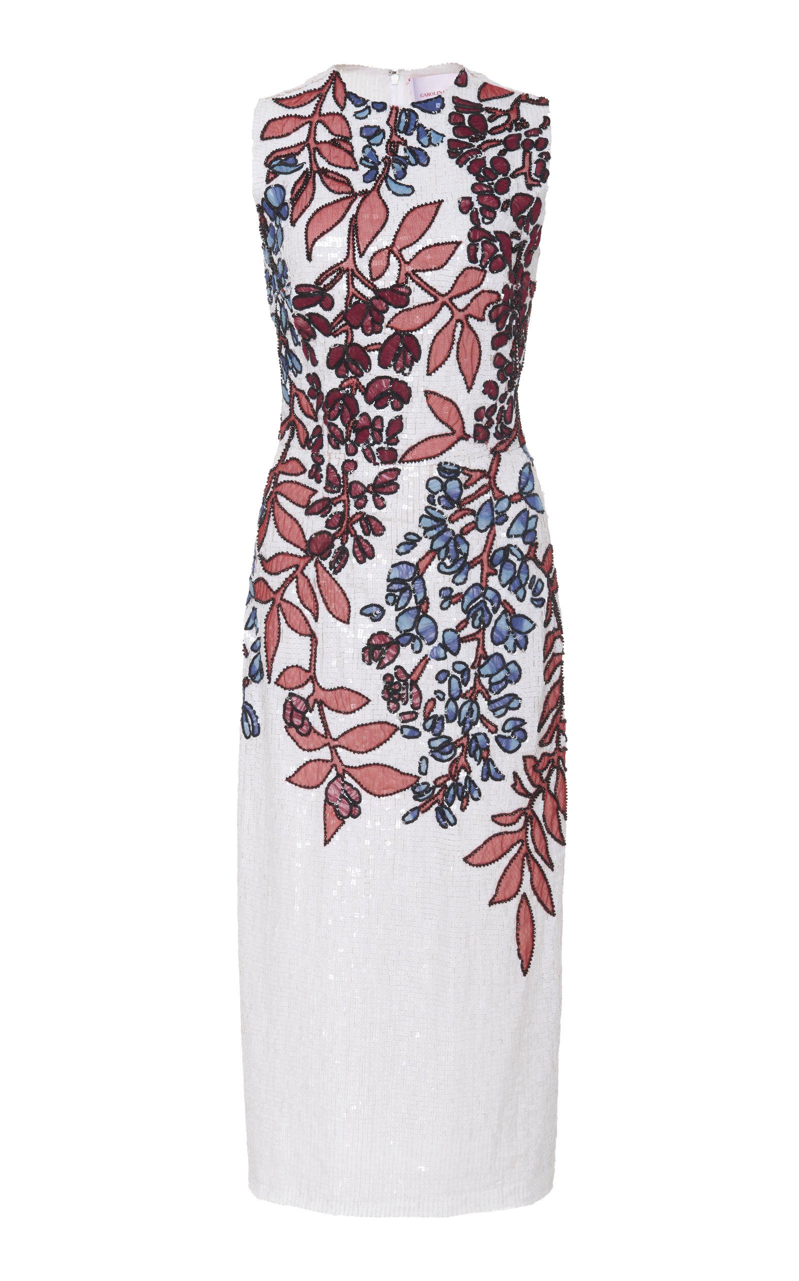 Carolina Herrera Dresses SEQUINED SILK MIDI DRESS SIZE: 10