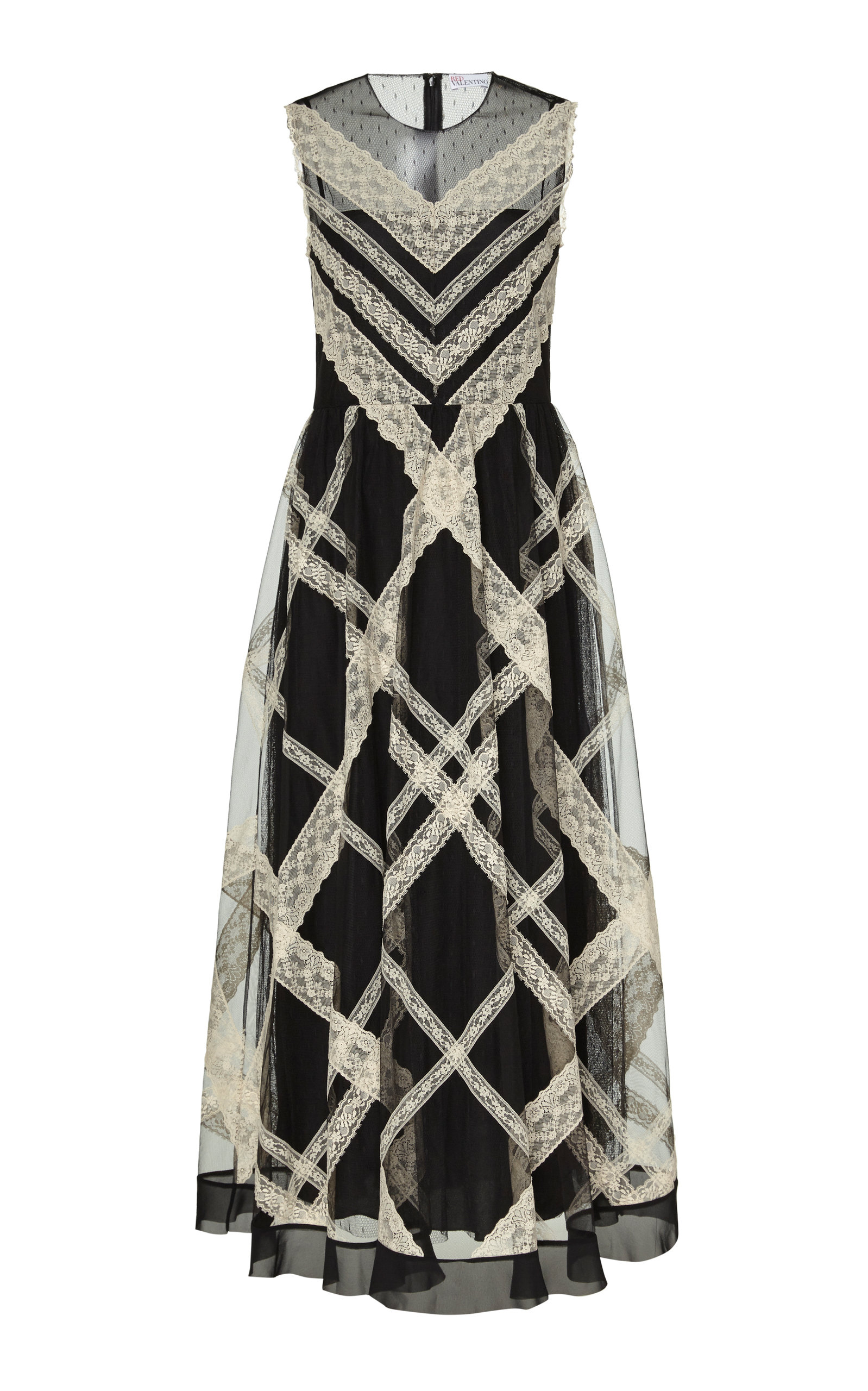 Lace Trimmed Point Desprit Tulle Maxi Dress