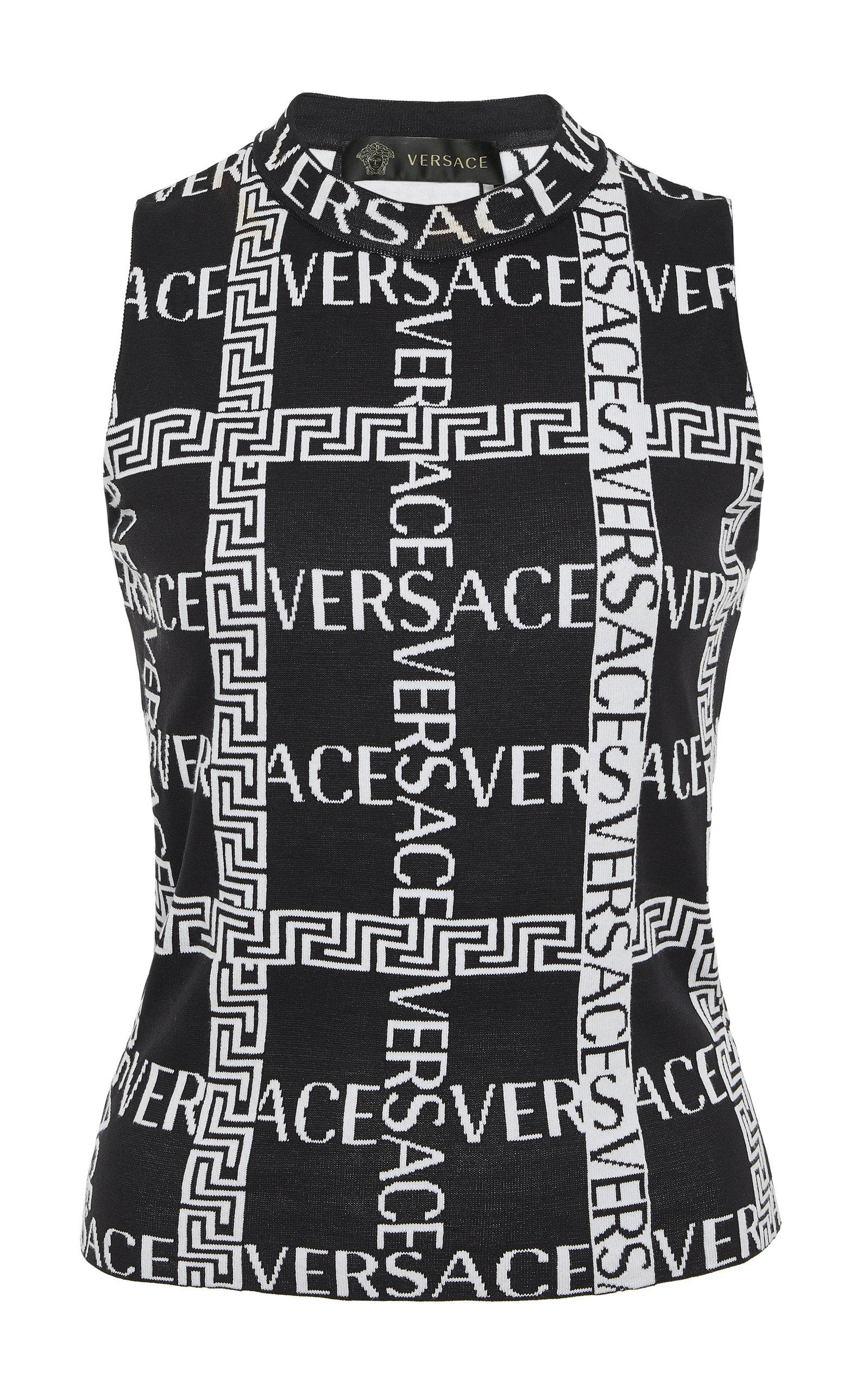 fb8061dd46cd57 Logo Cotton-Blend Crop Top by Versace