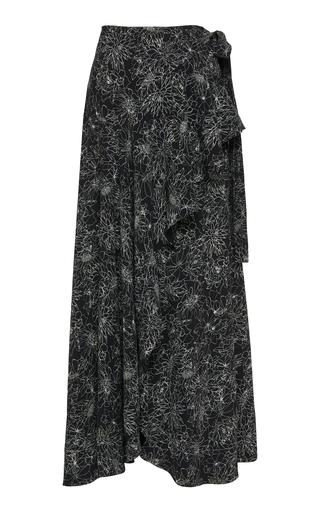 AMUR | AMUR Knox Ruffled Crepe Wrap Skirt | Goxip