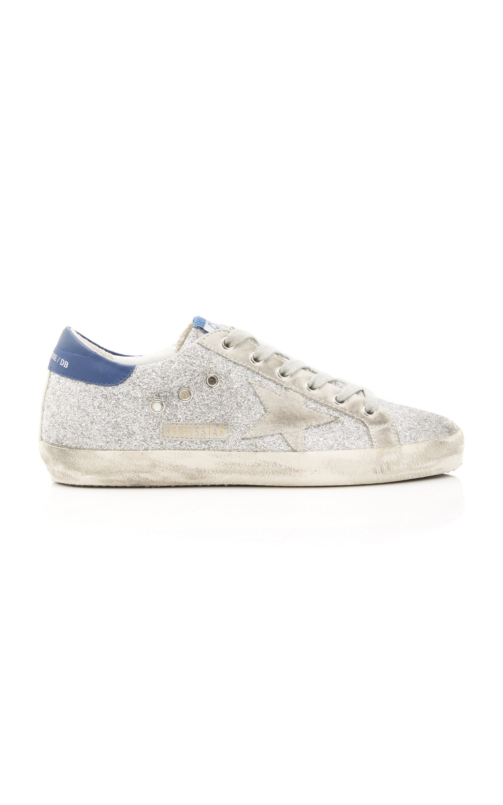 GOLDEN GOOSE DELUXE BRAND | Golden Goose Superstar Glittered Distressed Leather And Suede Sneakers | Goxip