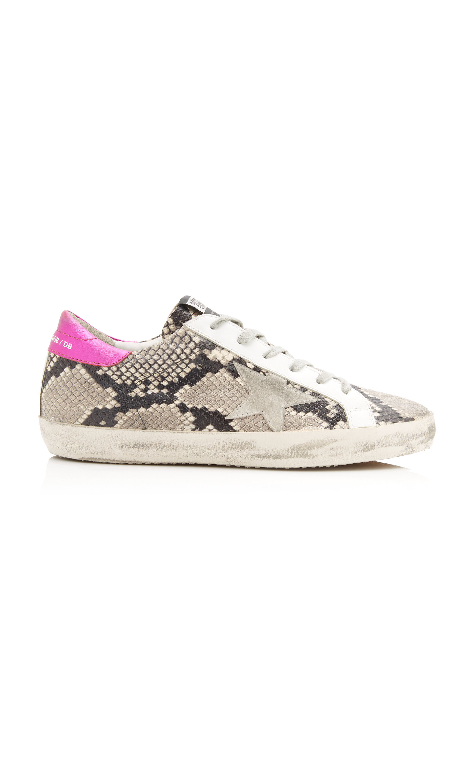 GOLDEN GOOSE DELUXE BRAND | Golden Goose Superstar Distressed Snake-Effect Leather And Suede Sneakers | Goxip