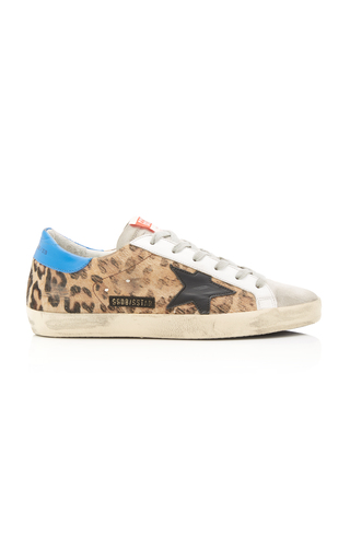 bb2bb4836 Golden Goose. Superstar Distressed Printed Calf Hair And Leather Sneakers