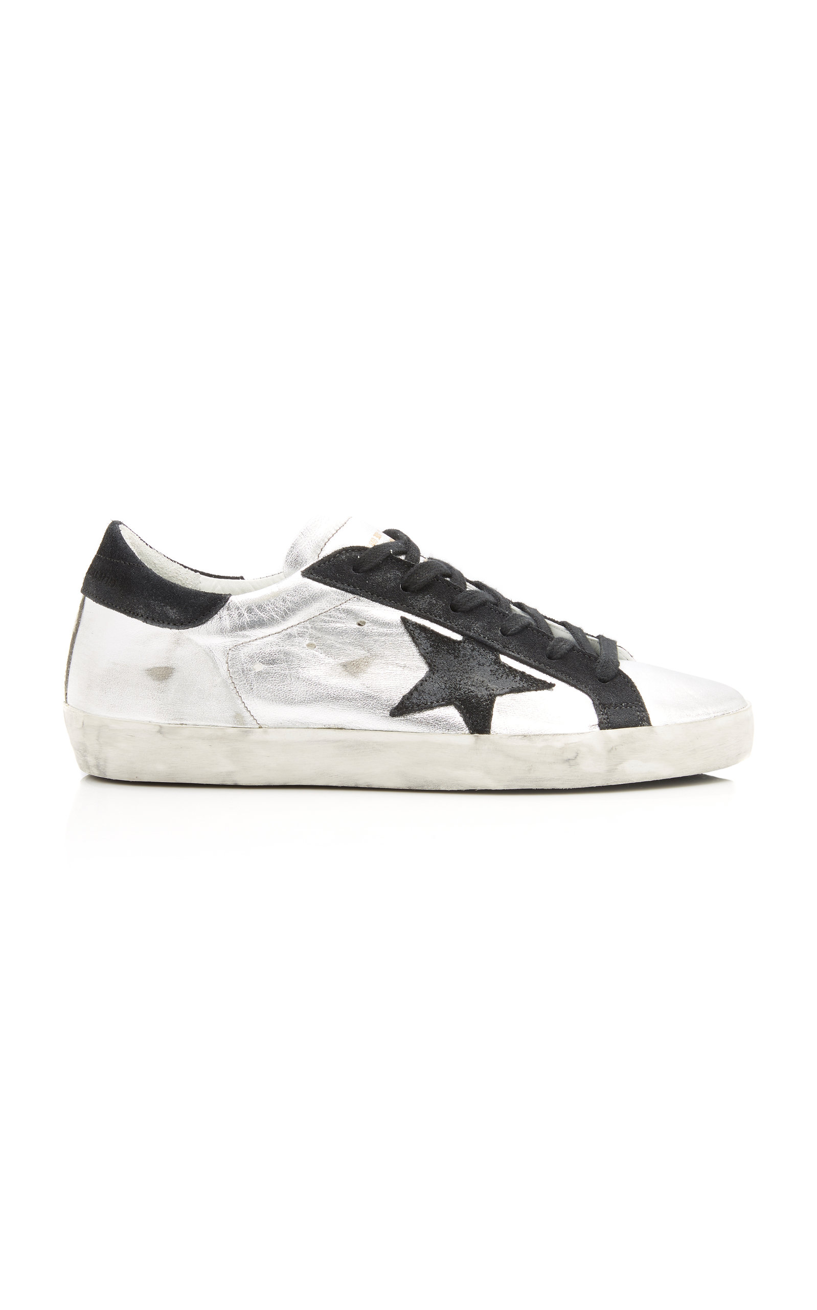 GOLDEN GOOSE DELUXE BRAND | Golden Goose Superstar Distressed Two-Tone Leather And Suede Sneakers | Goxip