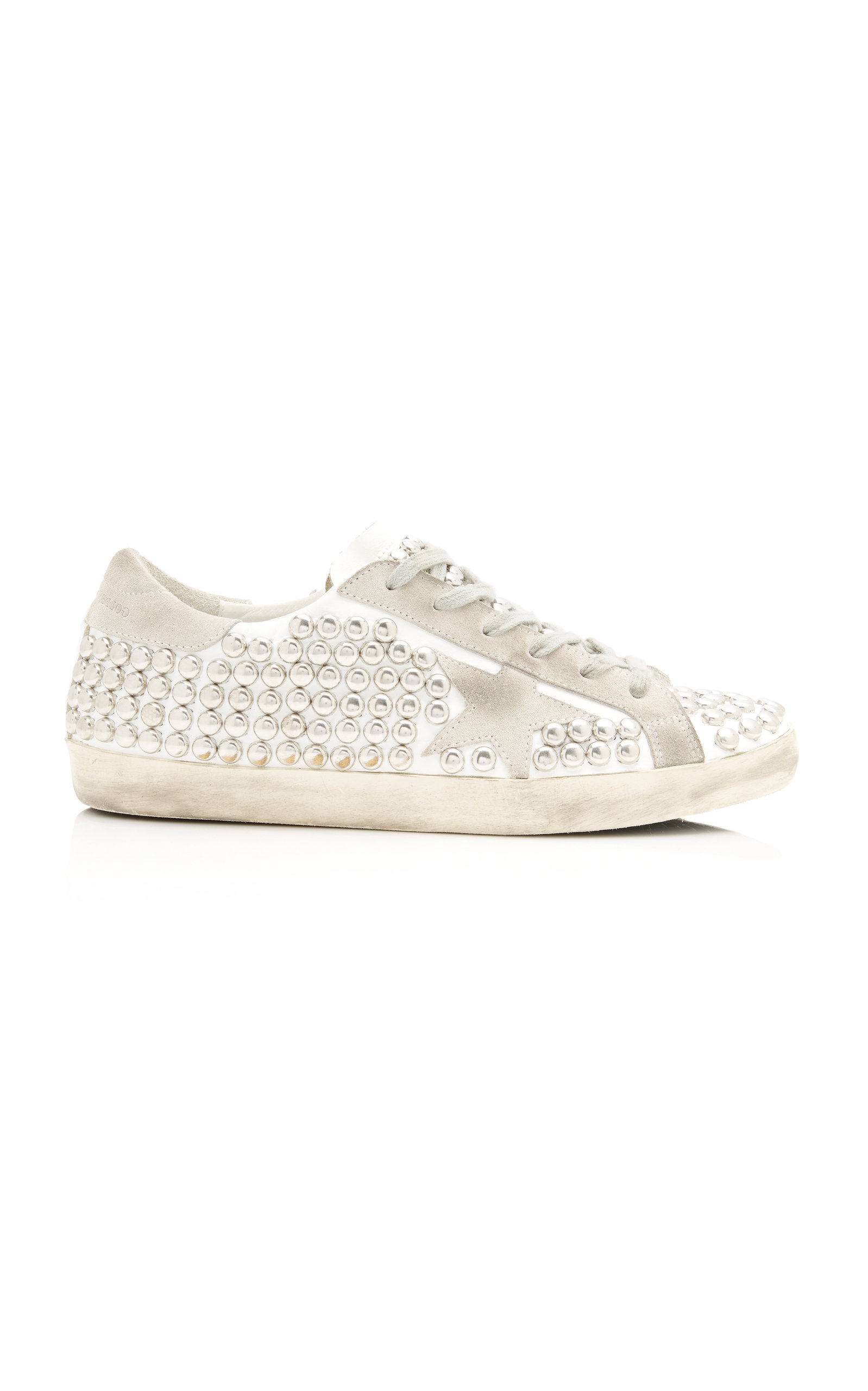 Superstar Distressed Studded Suede And Leather Sneakers by Golden Goose
