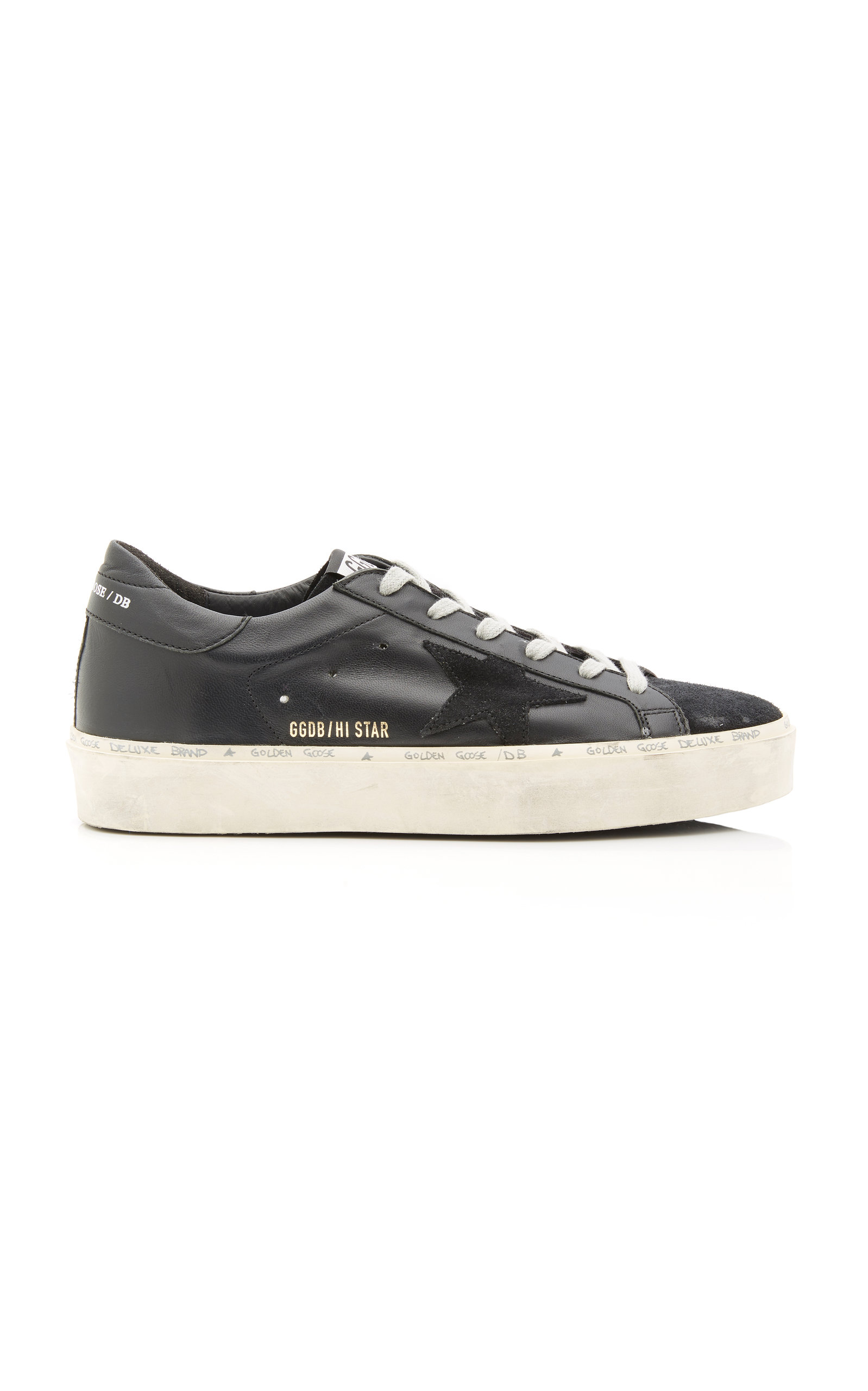 GOLDEN GOOSE DELUXE BRAND | Golden Goose Hi Star Platform Leather And Suede Sneakers | Goxip