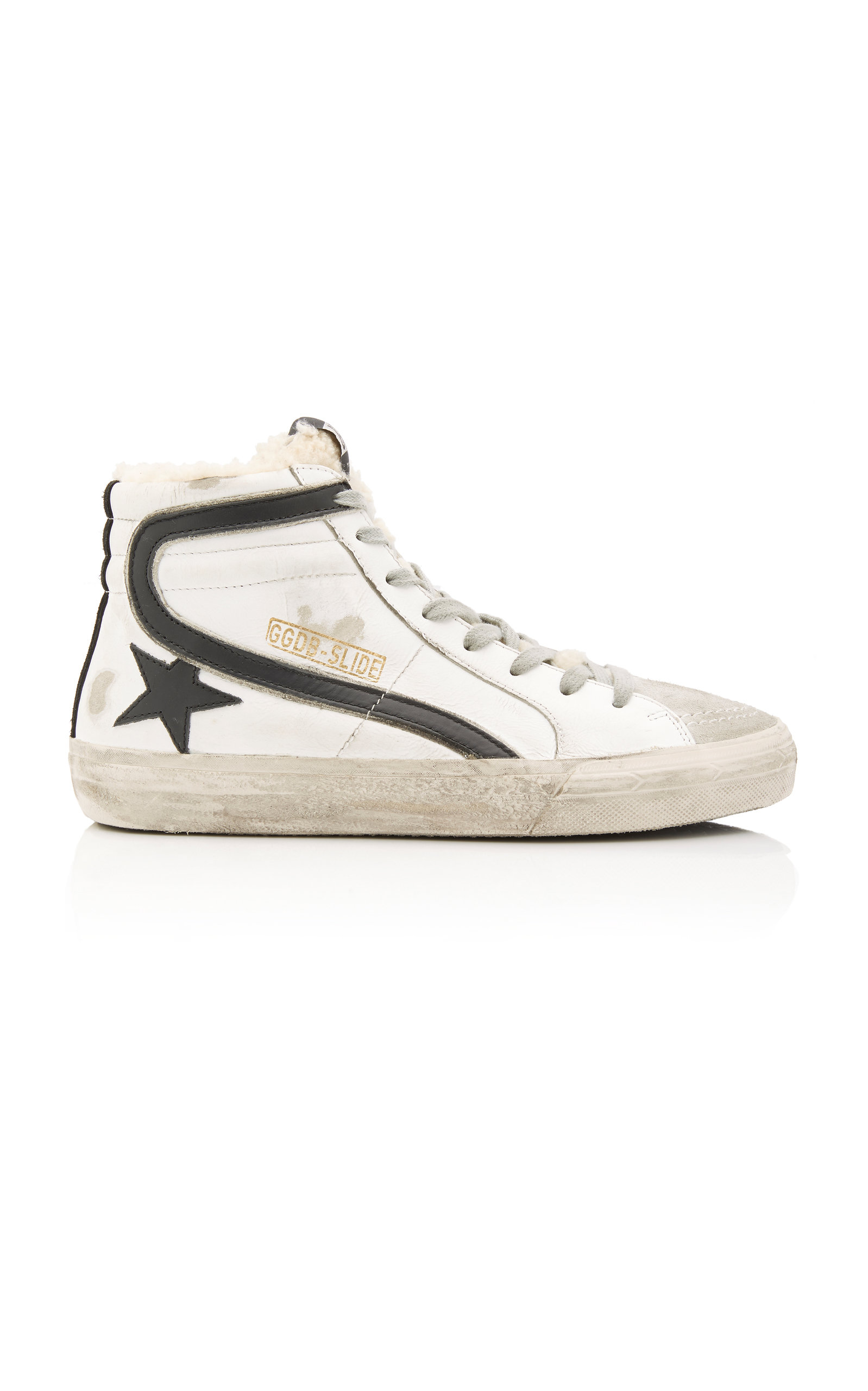 GOLDEN GOOSE DELUXE BRAND | Golden Goose Slide Distressed Shearling-Trimmed Leather High-Top Sneakers | Goxip
