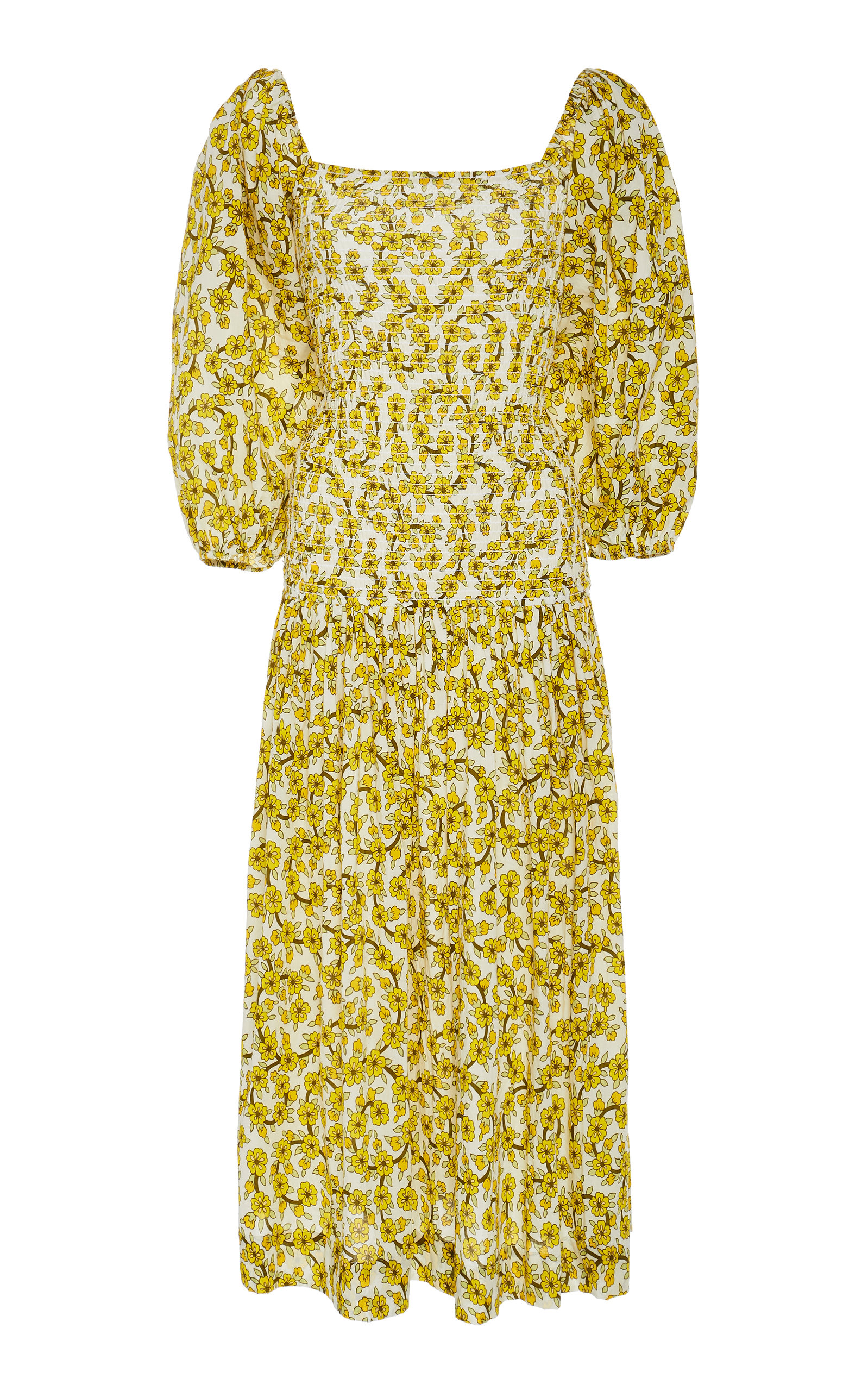 Harper Smocked Floral Print Cotton Midi Dress by Rhode