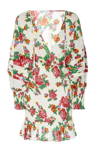 Rhode ANYA SMOCKED FLORAL-PRINT COTTON-POPLIN DRESS
