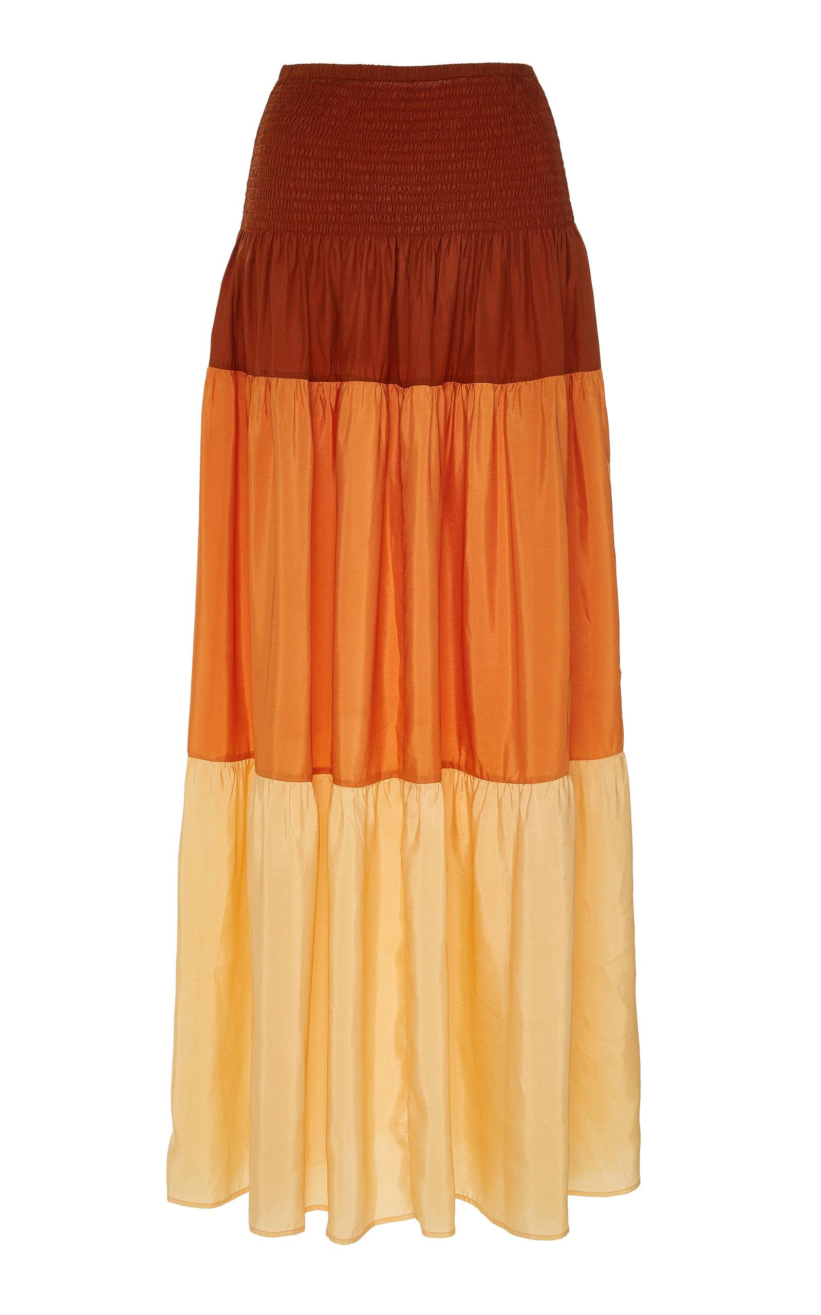 ANAAK | Anaak Clara Shirred Silk-Crepe De Chine Midi Dress | Goxip