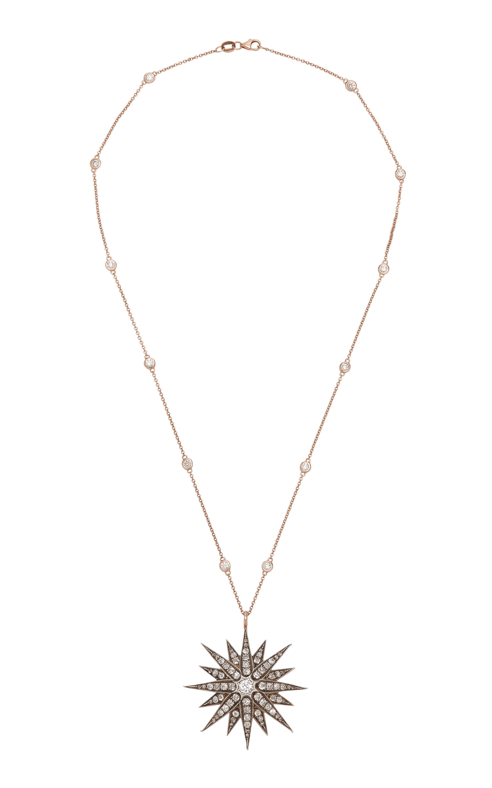 TONI + CHLOË GOUTAL | Toni + Chloë Goutal Lulu One-Of-A-Kind Antique Rose Gold Diamond Necklace | Goxip