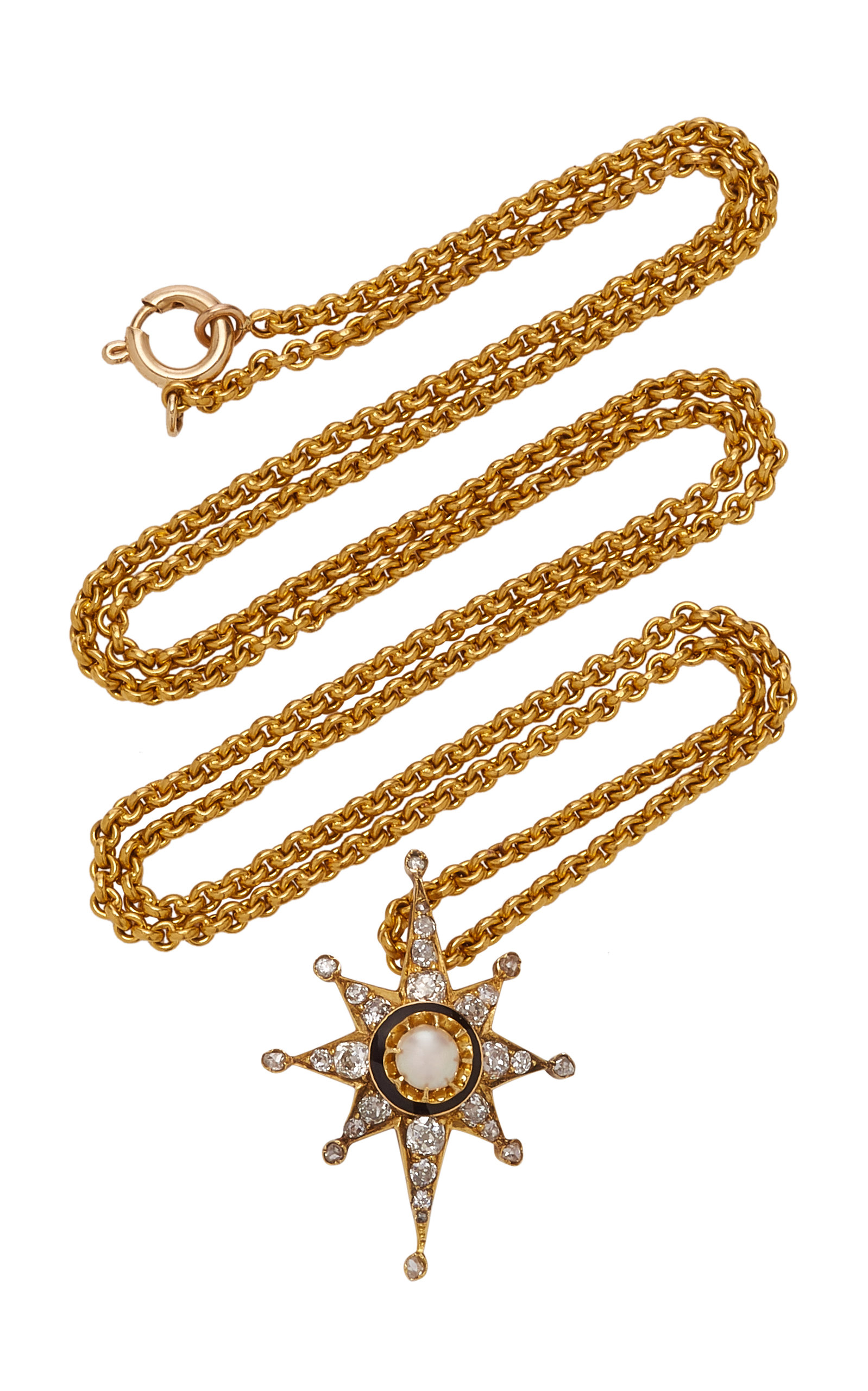 794106ea05b3 Large toni chloe goutal gold delfina one of a kind antique gold diamond and  pearl necklace