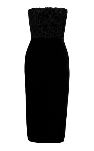 Alex Perry HUXLEY VELVET LEOPARD-DEVORE MIDI DRESS