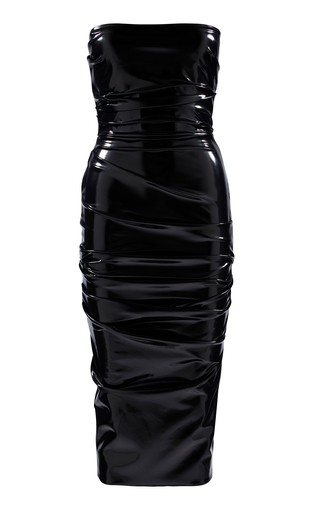 Alex Perry DEACON STRAPLESS RUCHED VINYL MIDI DRESS