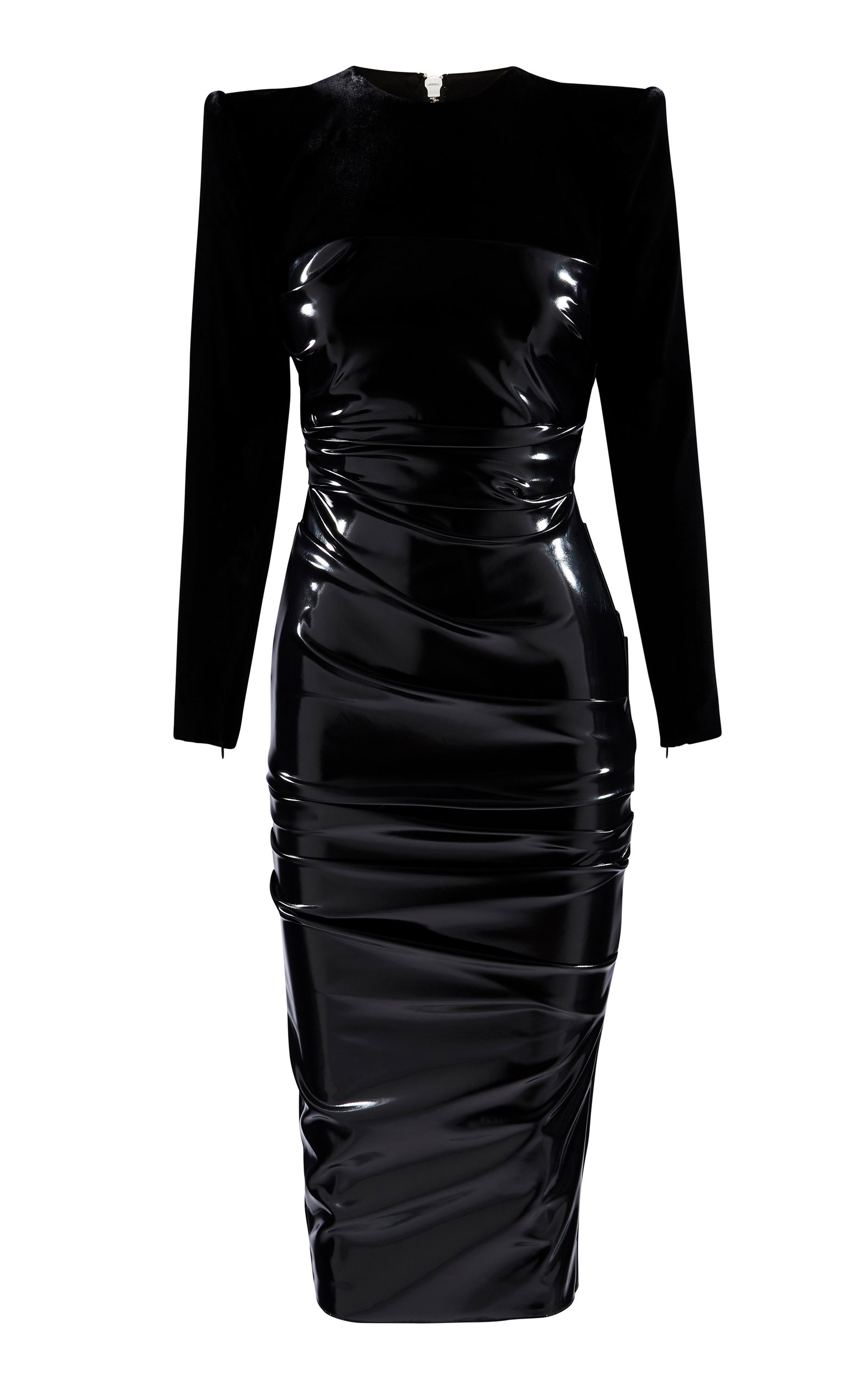 Alex Perry HART RUCHED JERSEY-PANELED VINYL MIDI DRESS SIZE: 14
