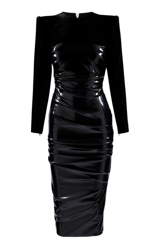 Alex Perry HART RUCHED JERSEY-PANELED VINYL MIDI DRESS