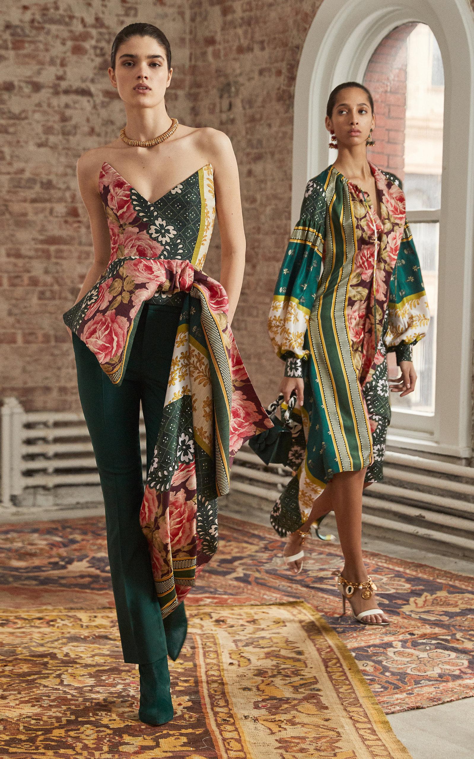 Oscar de la Renta Strapless Asymmetric Floral-Print Silk-Blend Top- Multi