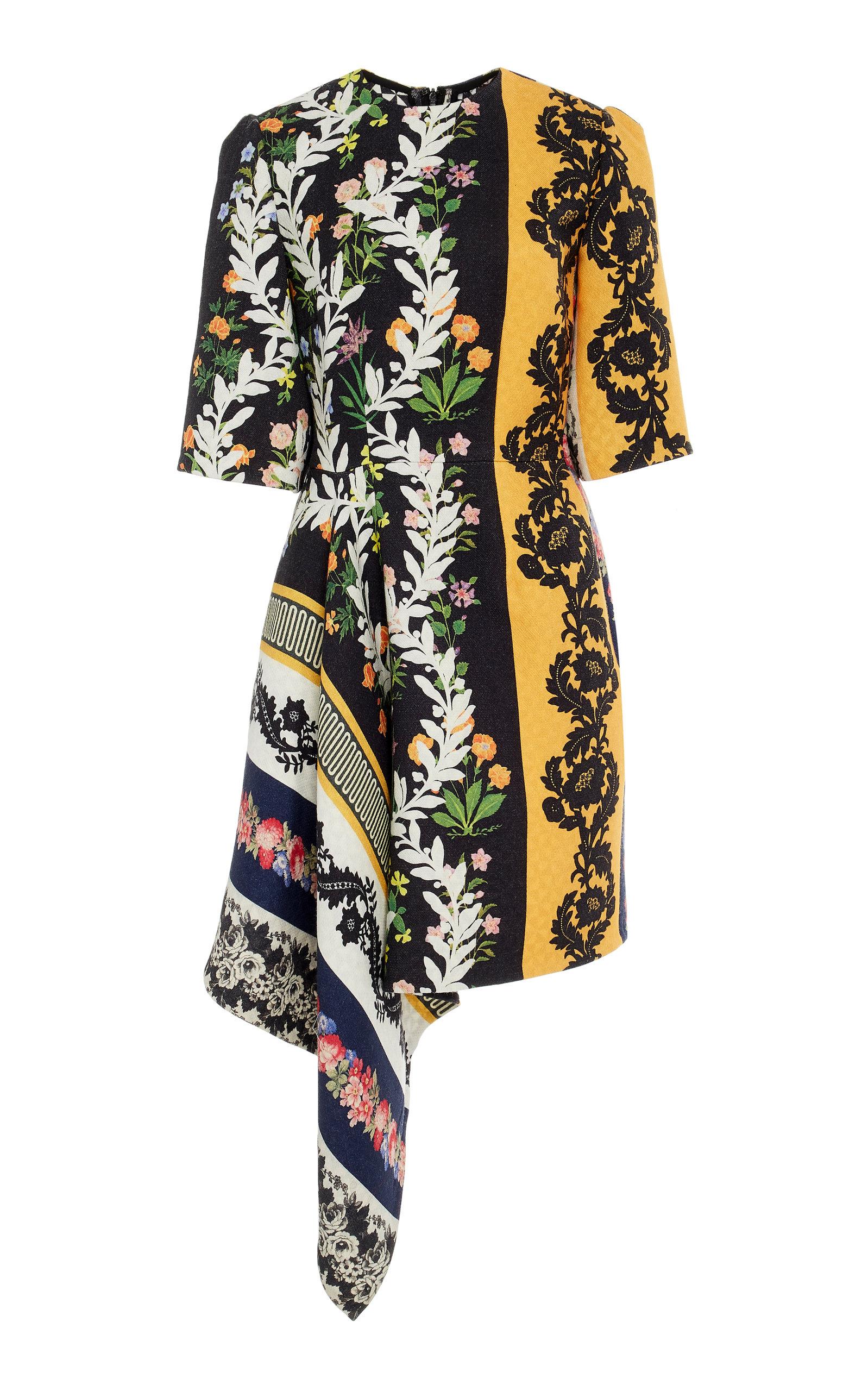 Asymmetric Floral Print Wool Crepe Mini Dress by Oscar De La Renta