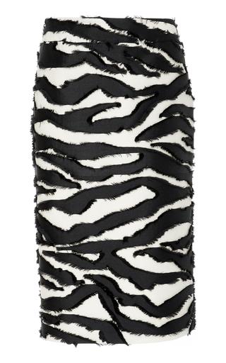 OSCAR DE LA RENTA   Oscar de la Renta Zebra-Print Silk Fil Coupé Midi Skirt   Goxip