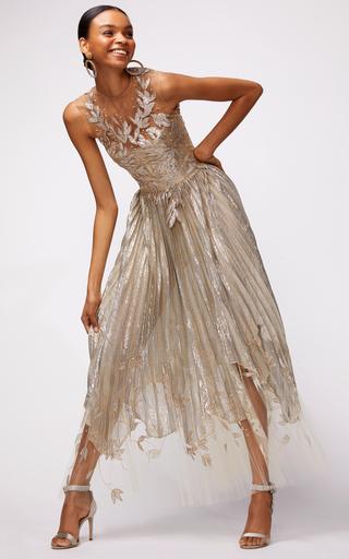 518895806fb PREORDER · Oscar de la RentaAsymmetric Floral-Embroidered Silk-Blend Lamé  Midi Dress