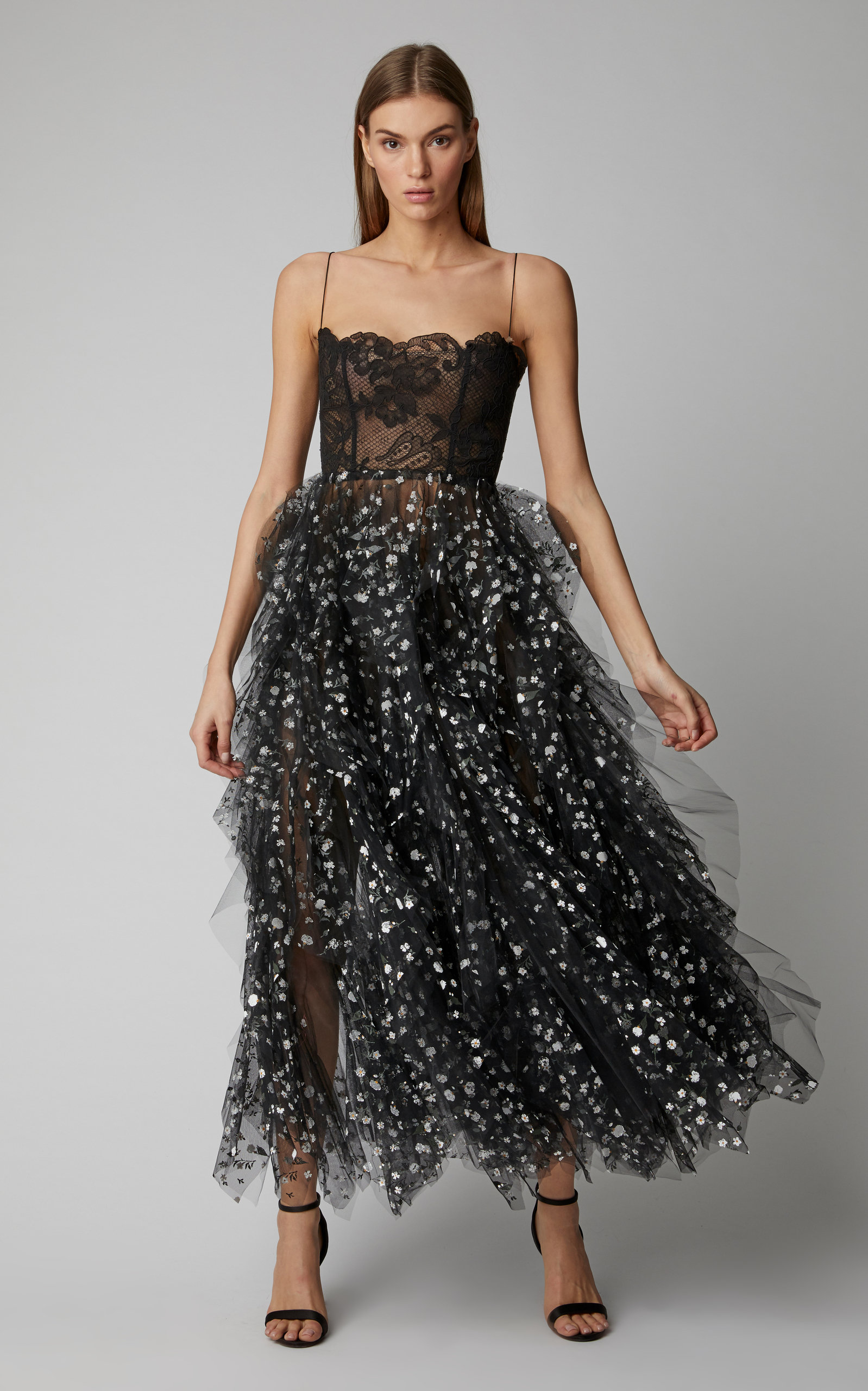 2aab11dc0cae Oscar de la RentaSequin-Embellished Lace and Tulle Midi Dress. CLOSE.  Loading