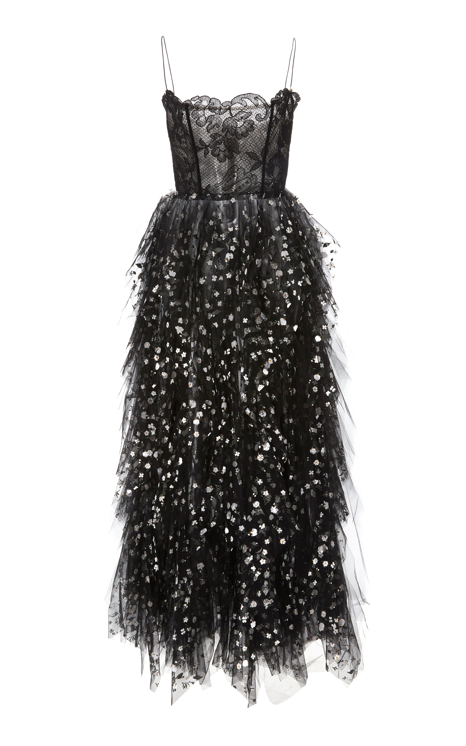 980266dab490a Oscar de la RentaSequin-Embellished Lace and Tulle Midi Dress. CLOSE.  Loading