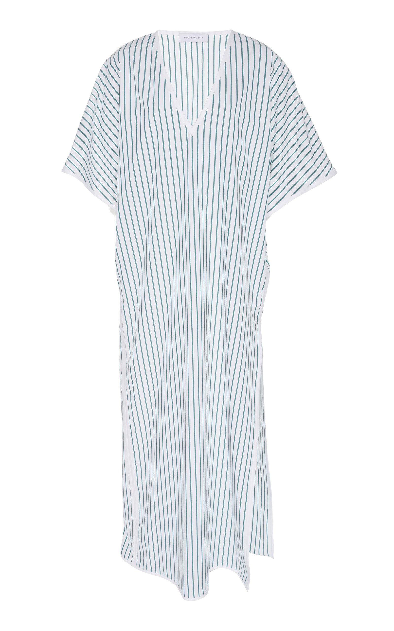 MARINA MOSCONE | Marina Moscone Exclusive Striped Cotton-Voile Caftan | Goxip