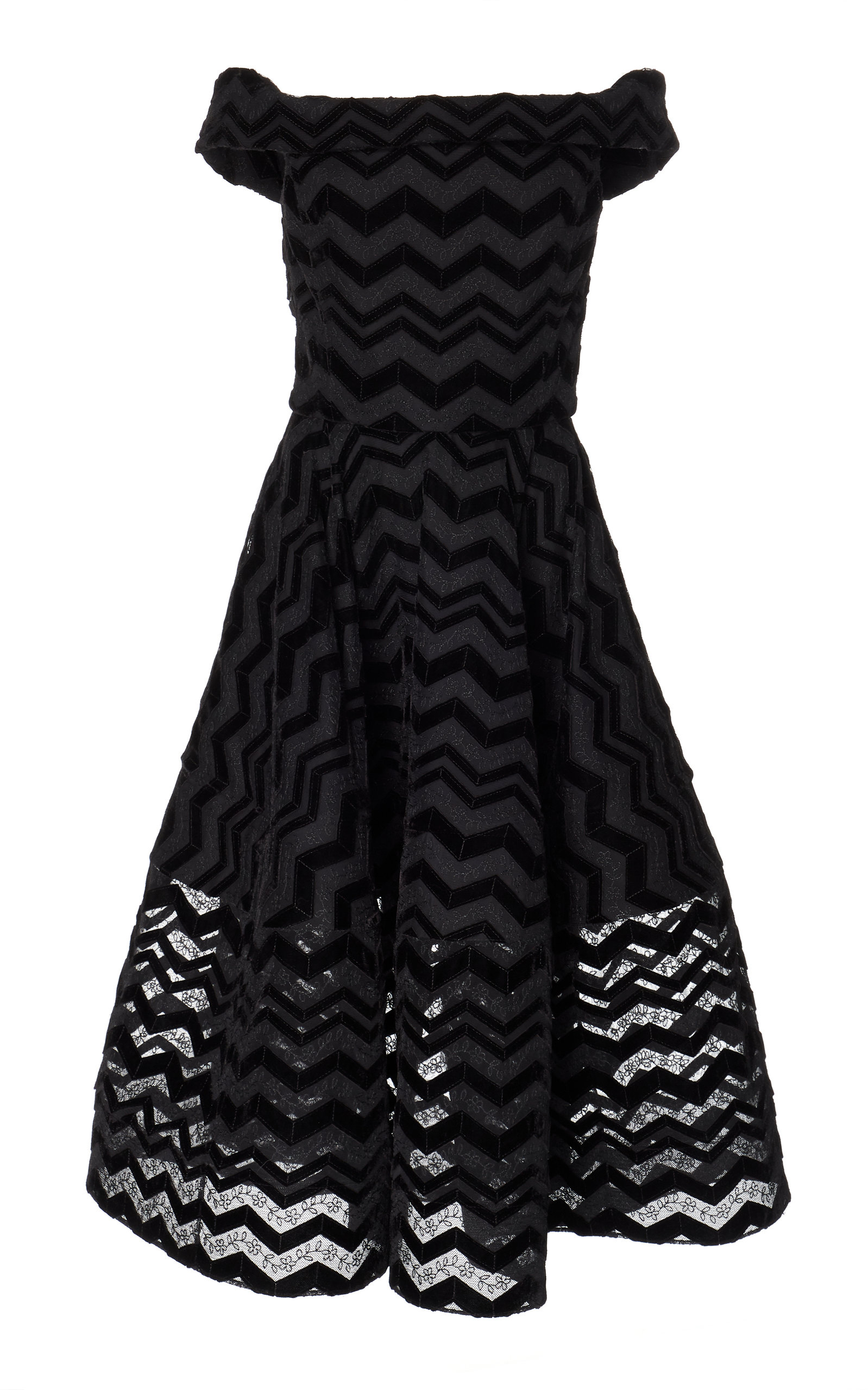 Christian Siriano ZIG ZAG BURNOUT VELVET OFF THE SHOULDER DRESS