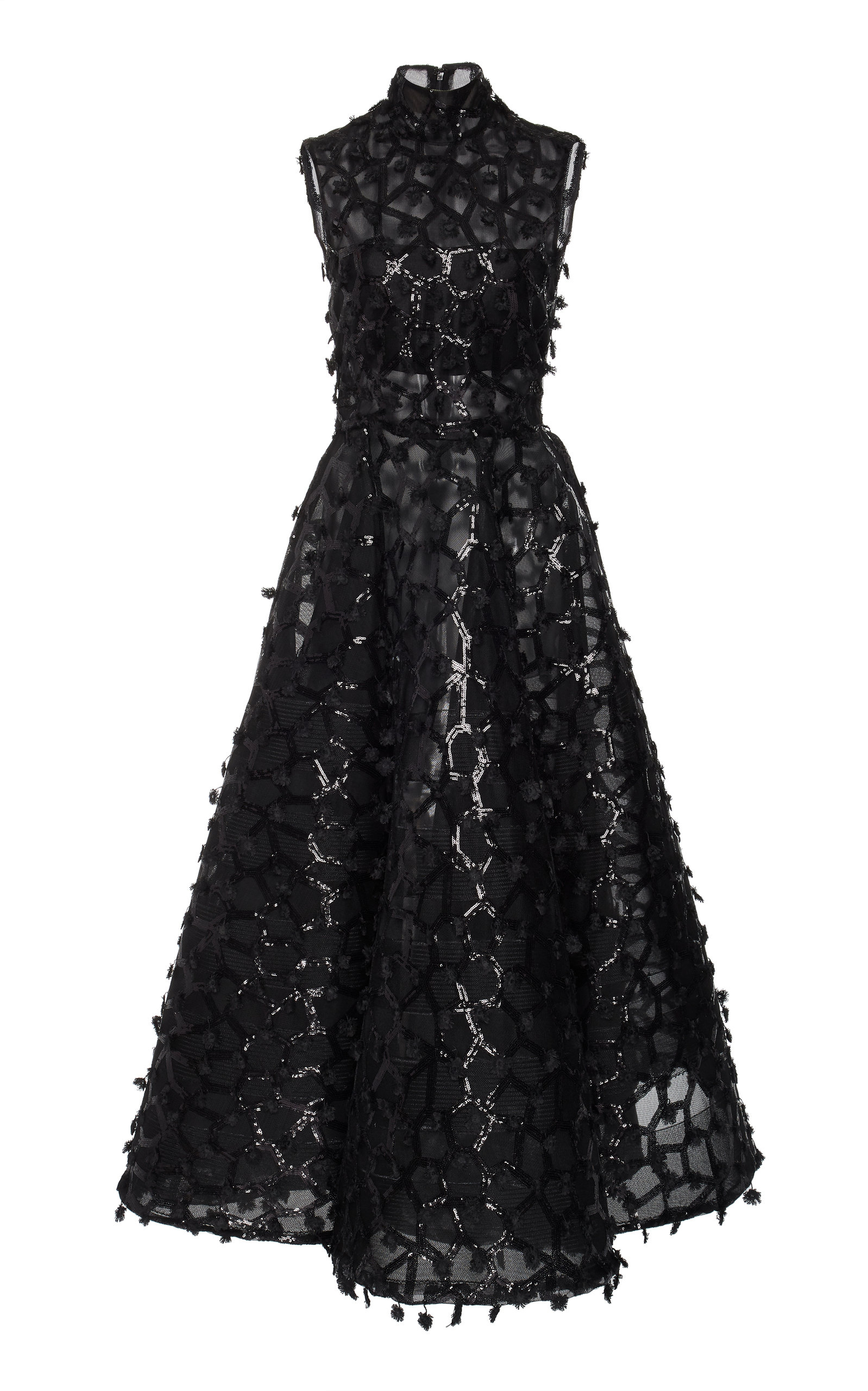 Christian Siriano SEQUIN EMBELLISHED TEA LENGTH DRESS