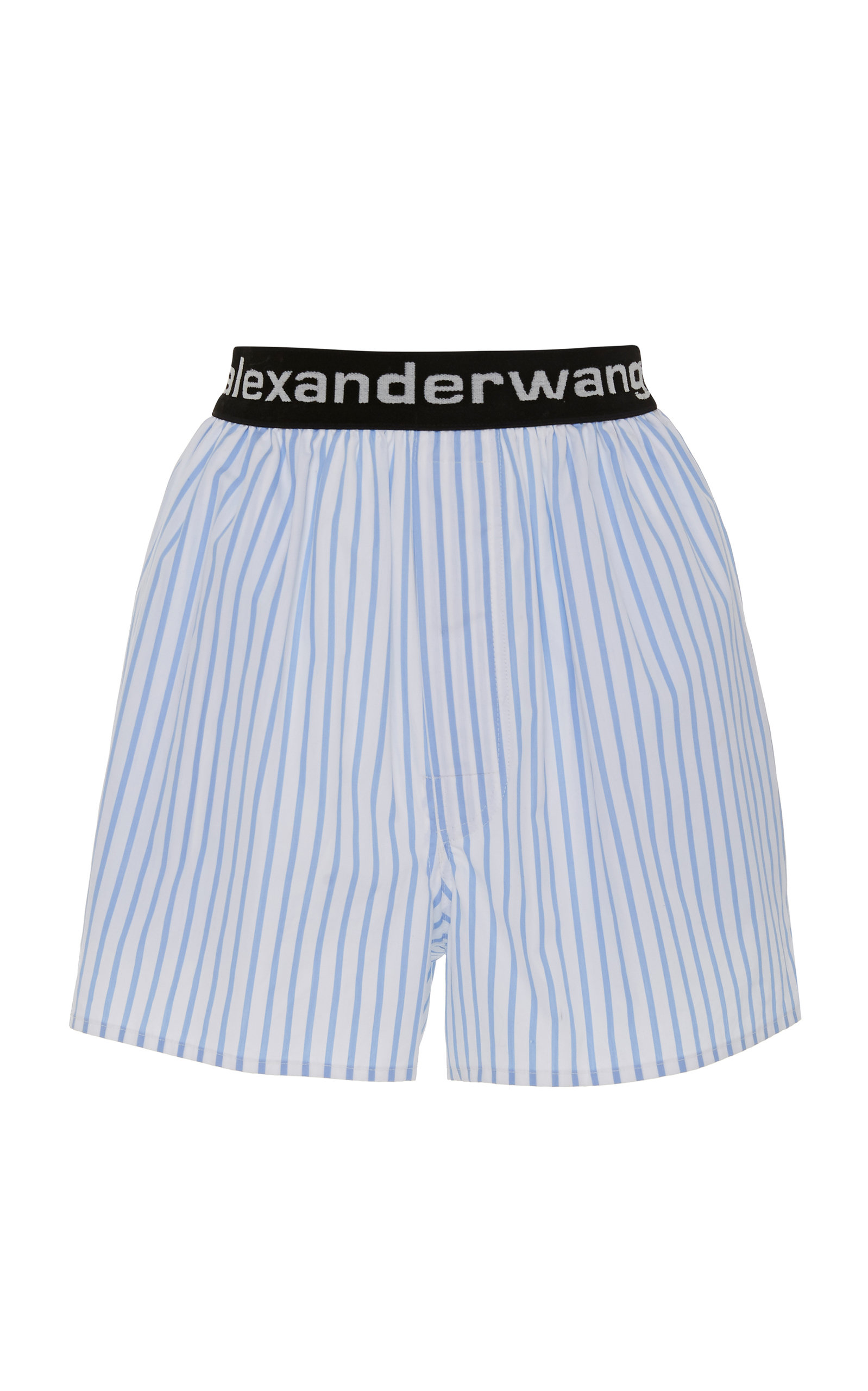 7e29cff113 Logo-Embroidered Striped Cotton-Poplin Shorts by Alexander Wang ...