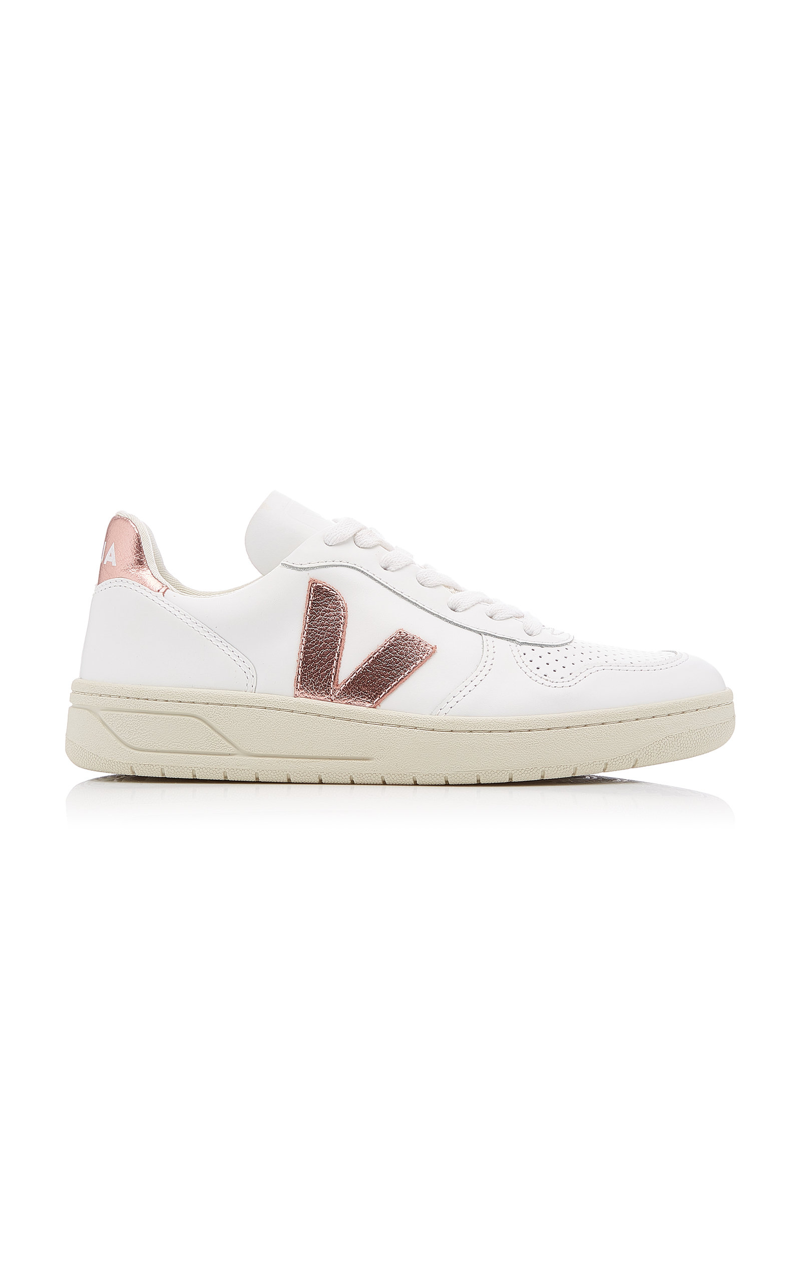 VEJA | VEJA V-10 Low-Top Leather Sneakers | Goxip