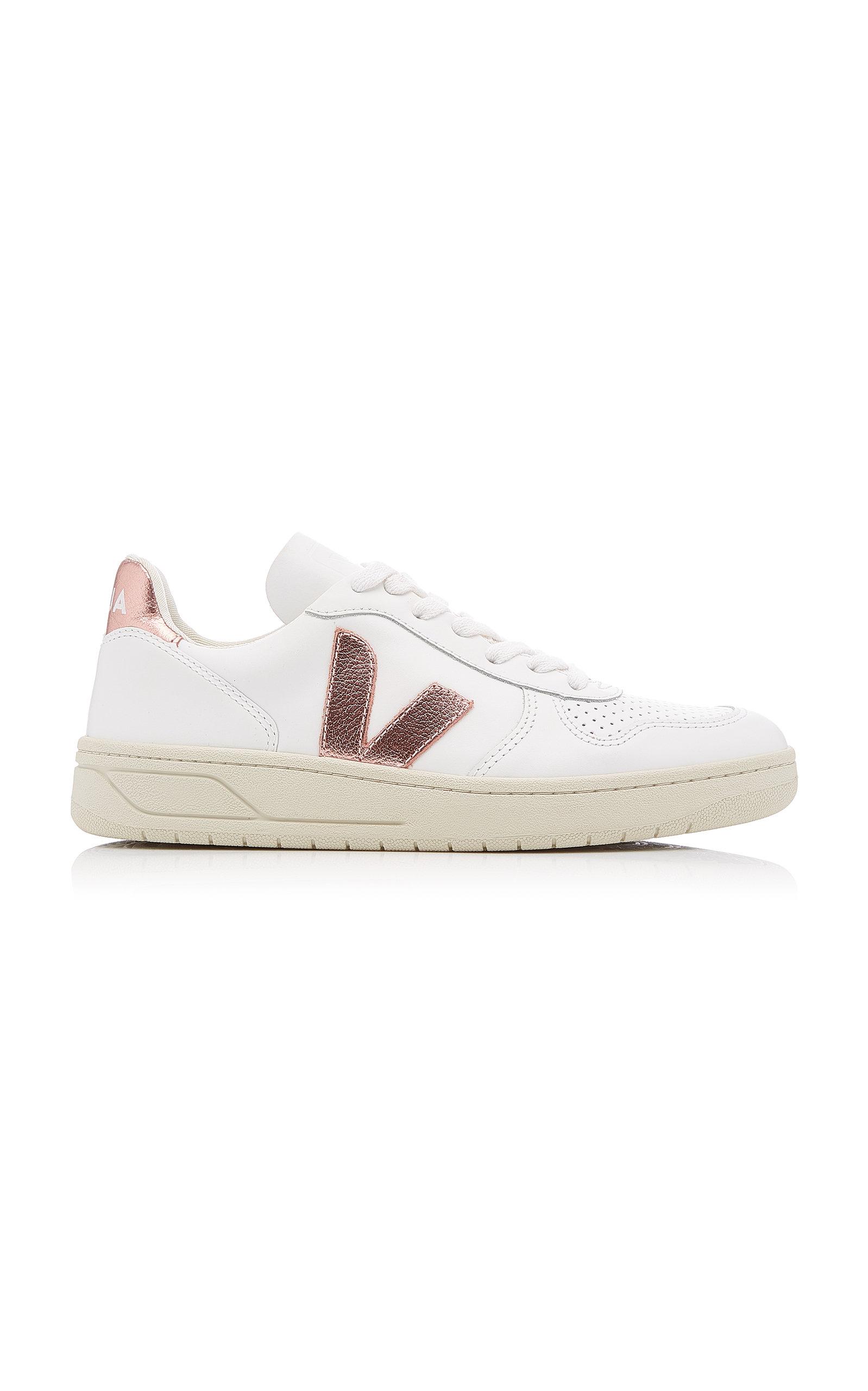 VEJA | VEJA V-10 Low-Top Leather Sneakers | Goxip
