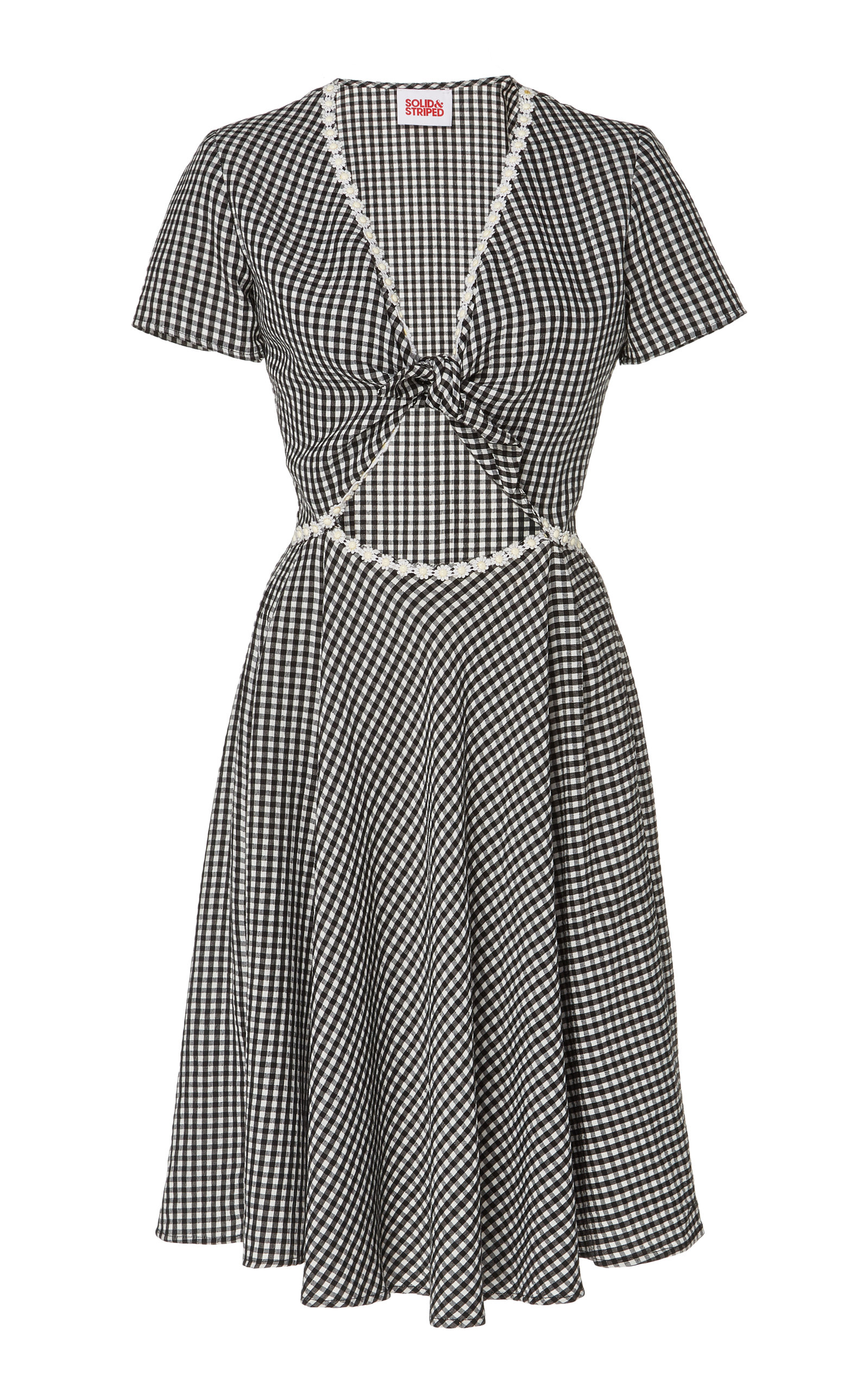 Gingham Cutout Ponte Dress by Solid & Striped