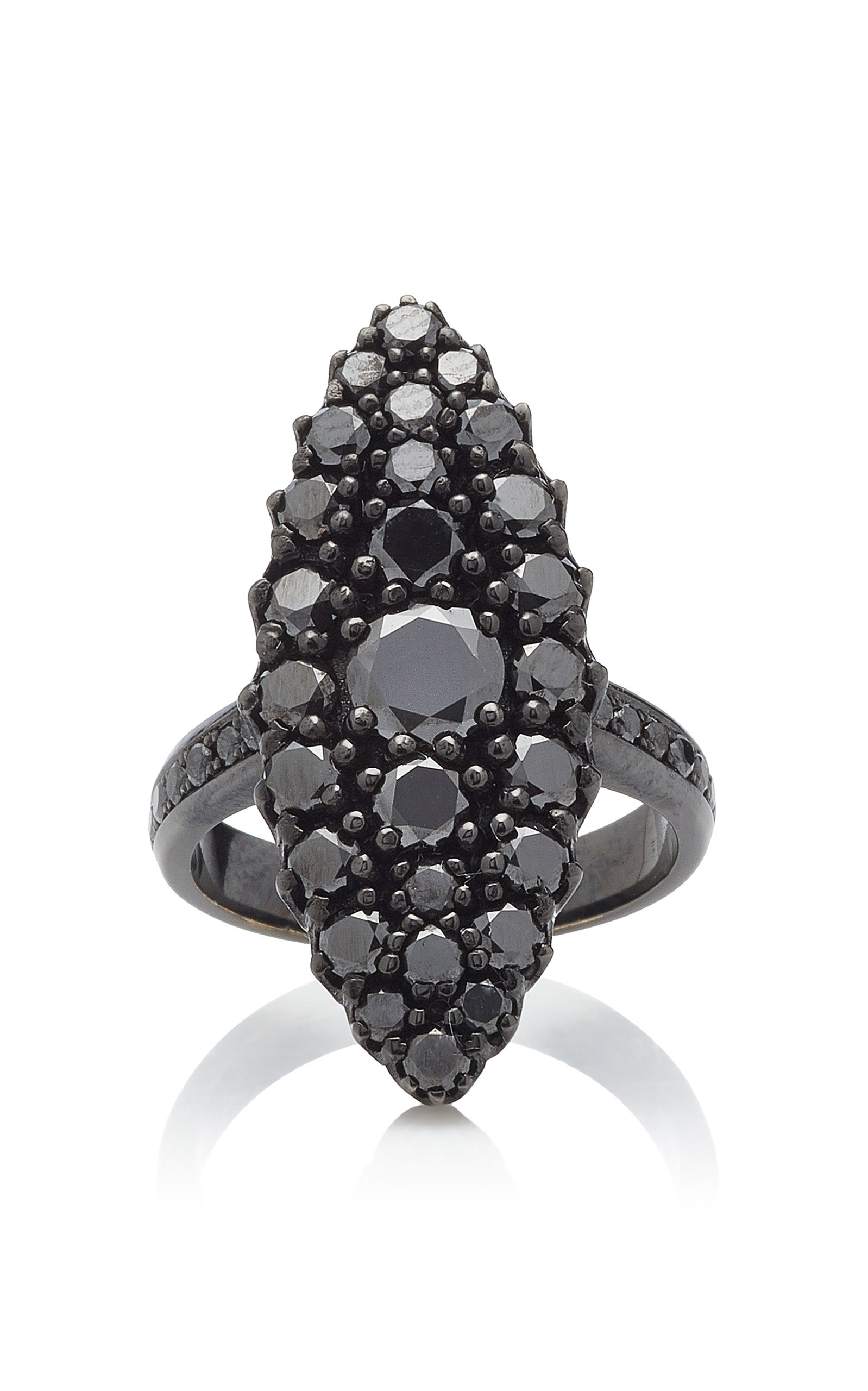 COLETTE JEWELRY | Colette Jewelry 18K Oxidized Gold Black Diamond Ring | Goxip