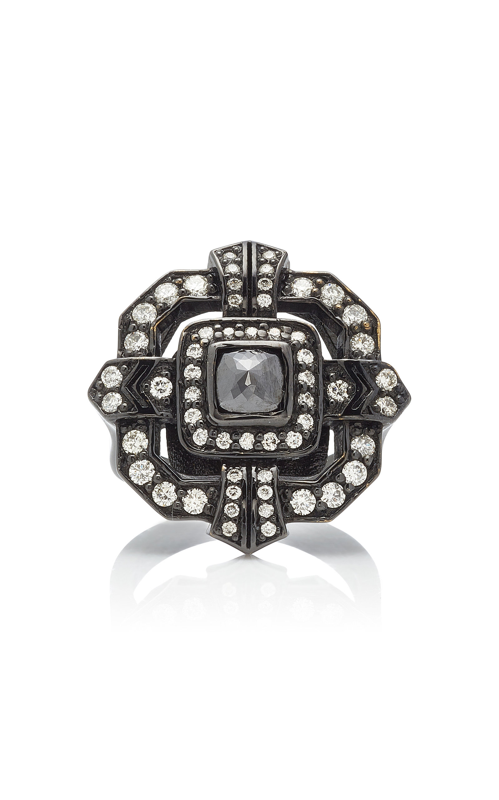 COLETTE JEWELRY | Colette Jewelry 18K Oxidized Gold Diamond Ring | Goxip