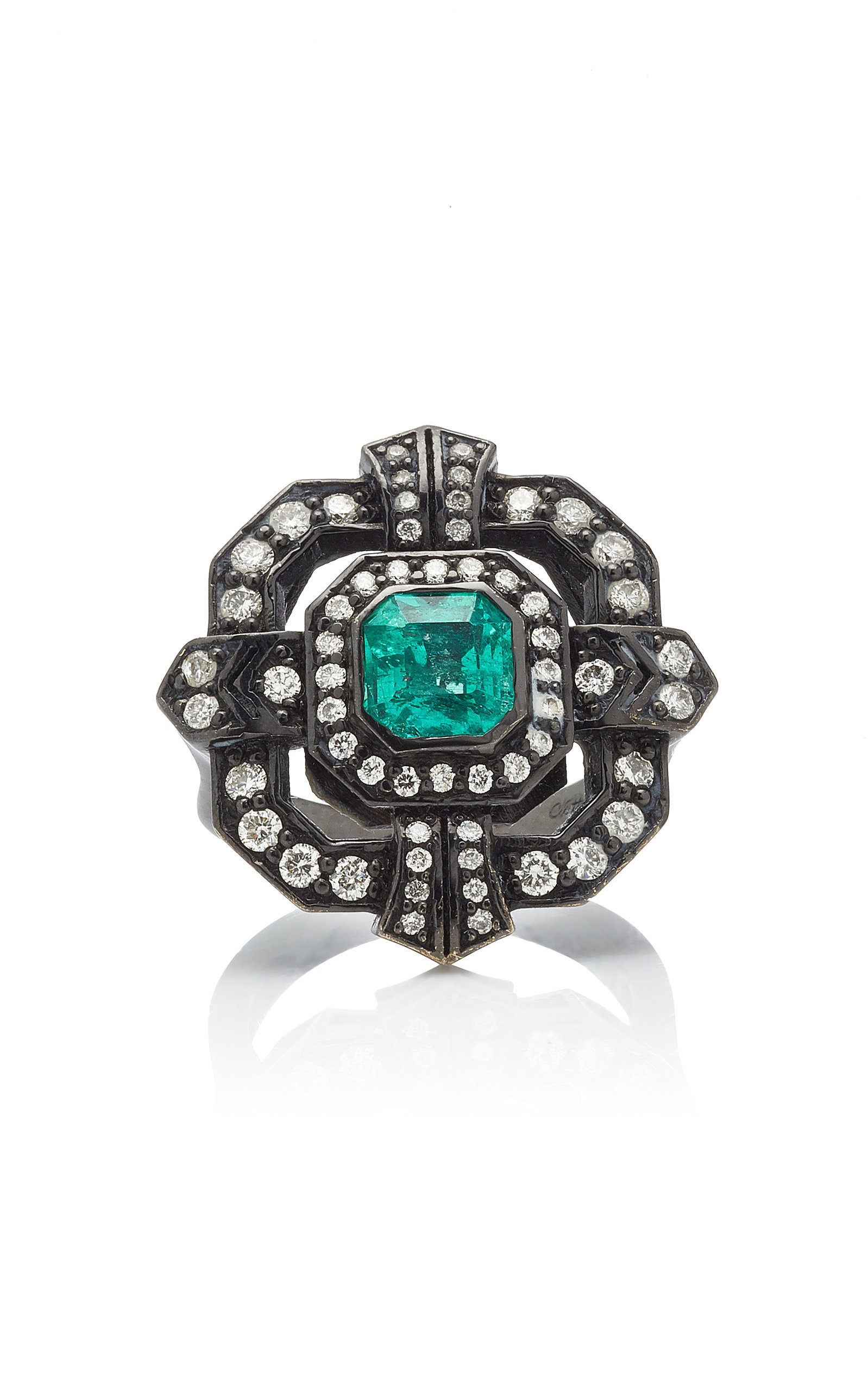 COLETTE JEWELRY | Colette Jewelry 18K Oxidized Gold Diamond And Emerald Ring | Goxip