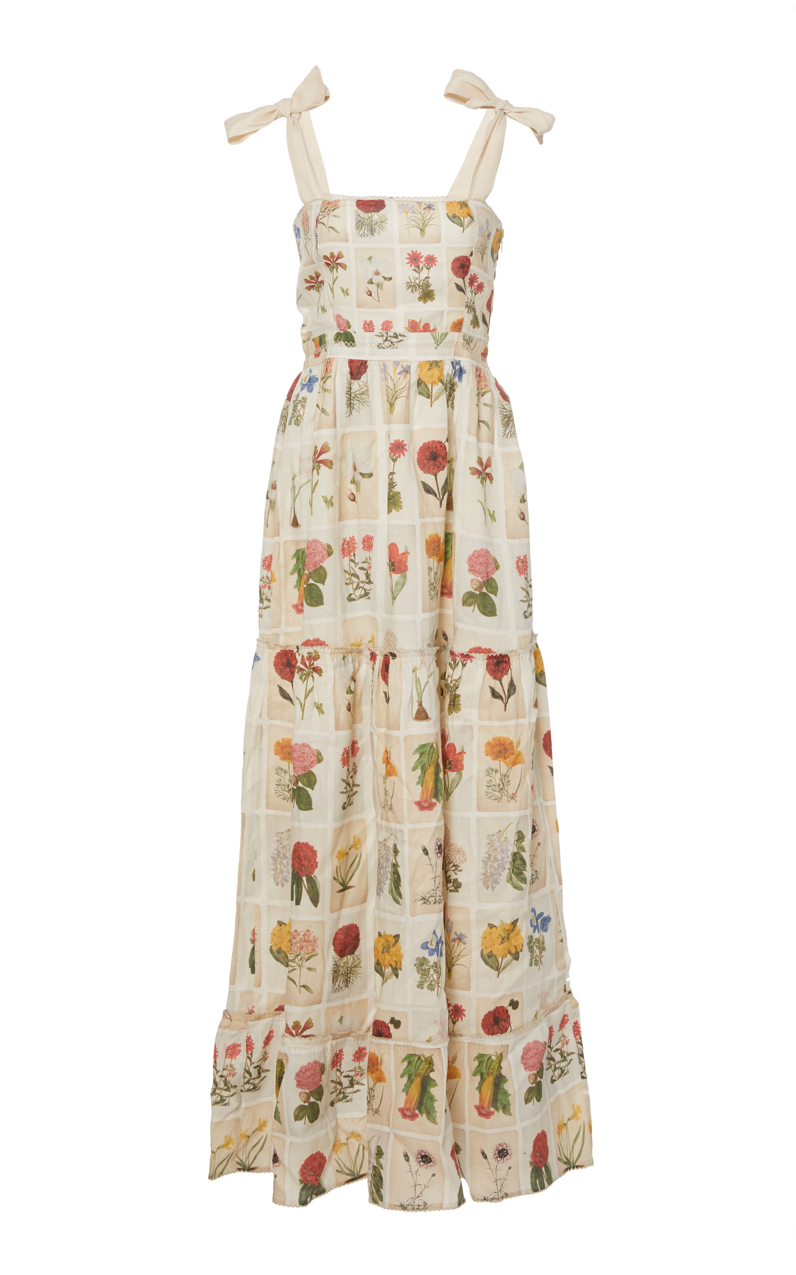 AGUA BY AGUA BENDITA Herbarium Embroidered Printed Linen Dress in Multi