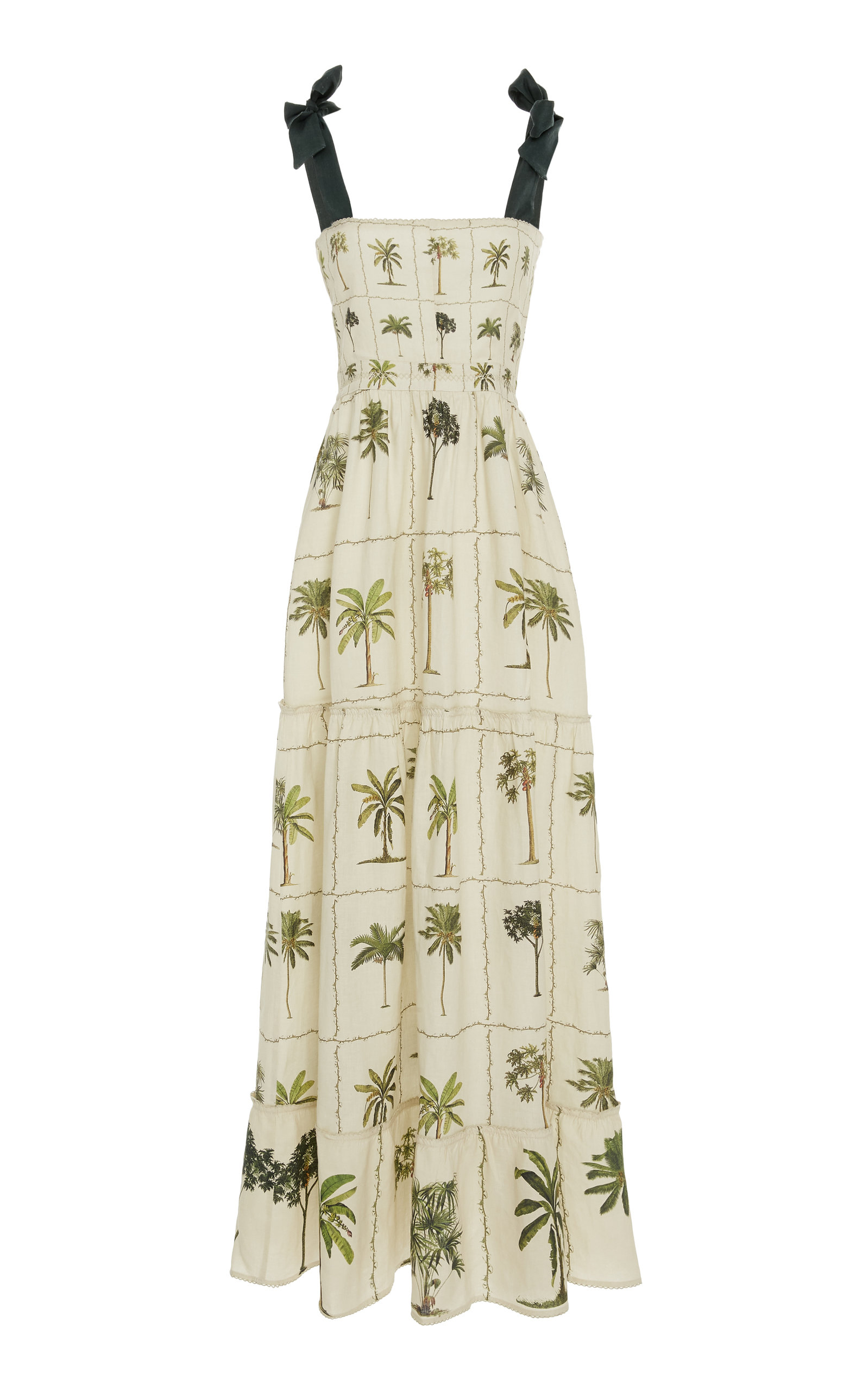 AGUA BY AGUA BENDITA Herbarium Embroidered Printed Linen Dress in Neutral