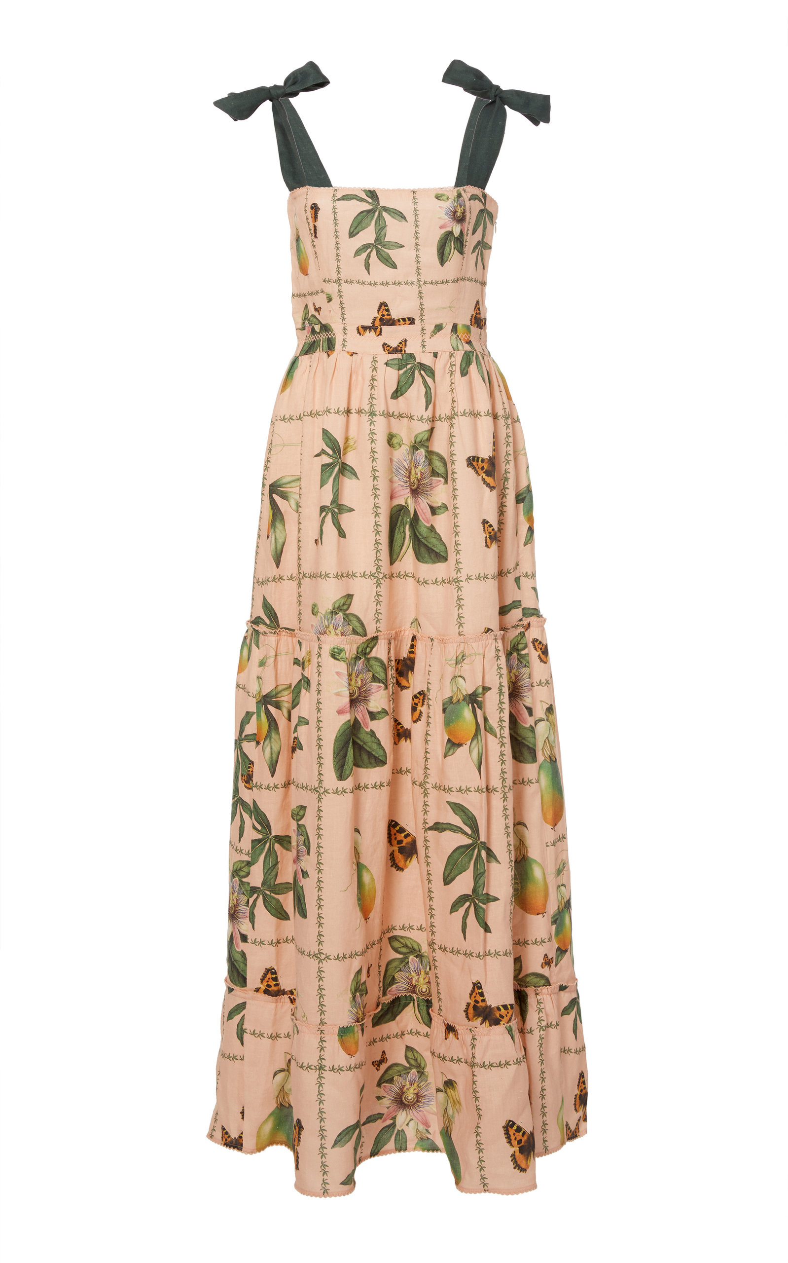 AGUA BY AGUA BENDITA Herbarium Embroidered Printed Linen Dress in Pink