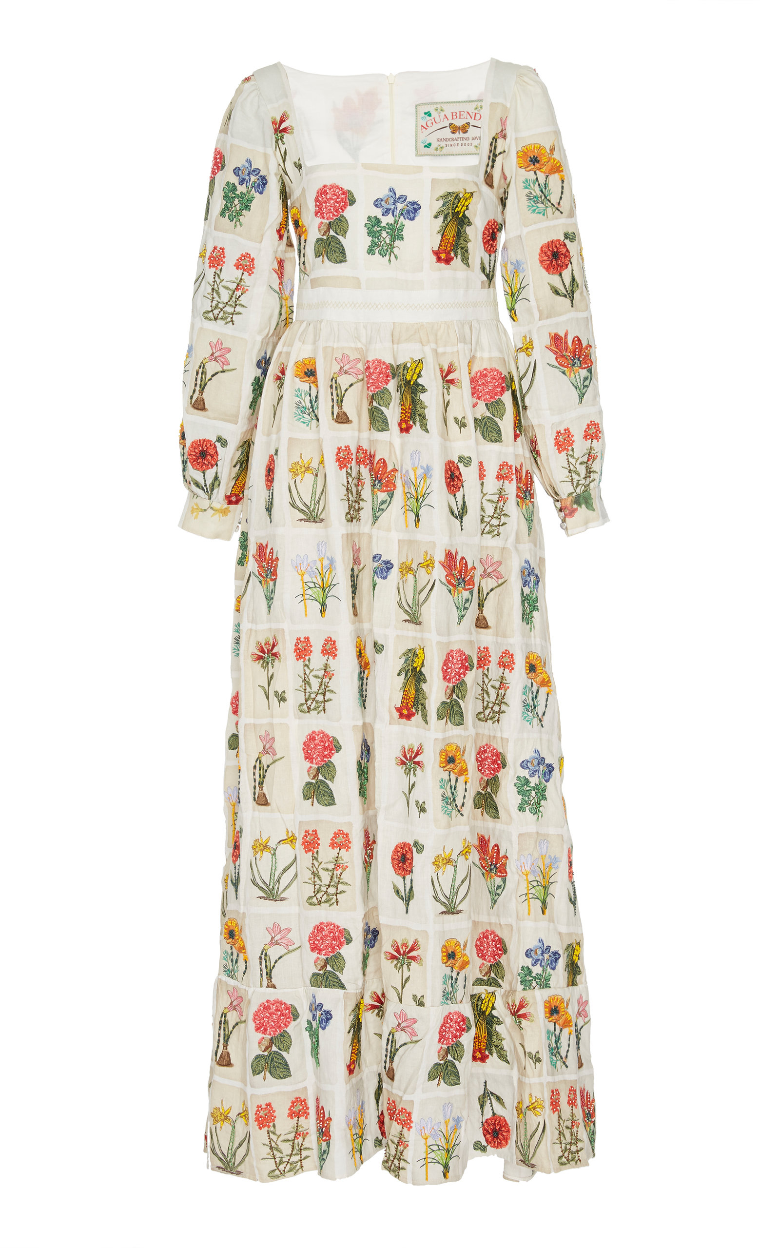 AGUA BY AGUA BENDITA Curuba Embroidered Floral Linen Dress in Neutral