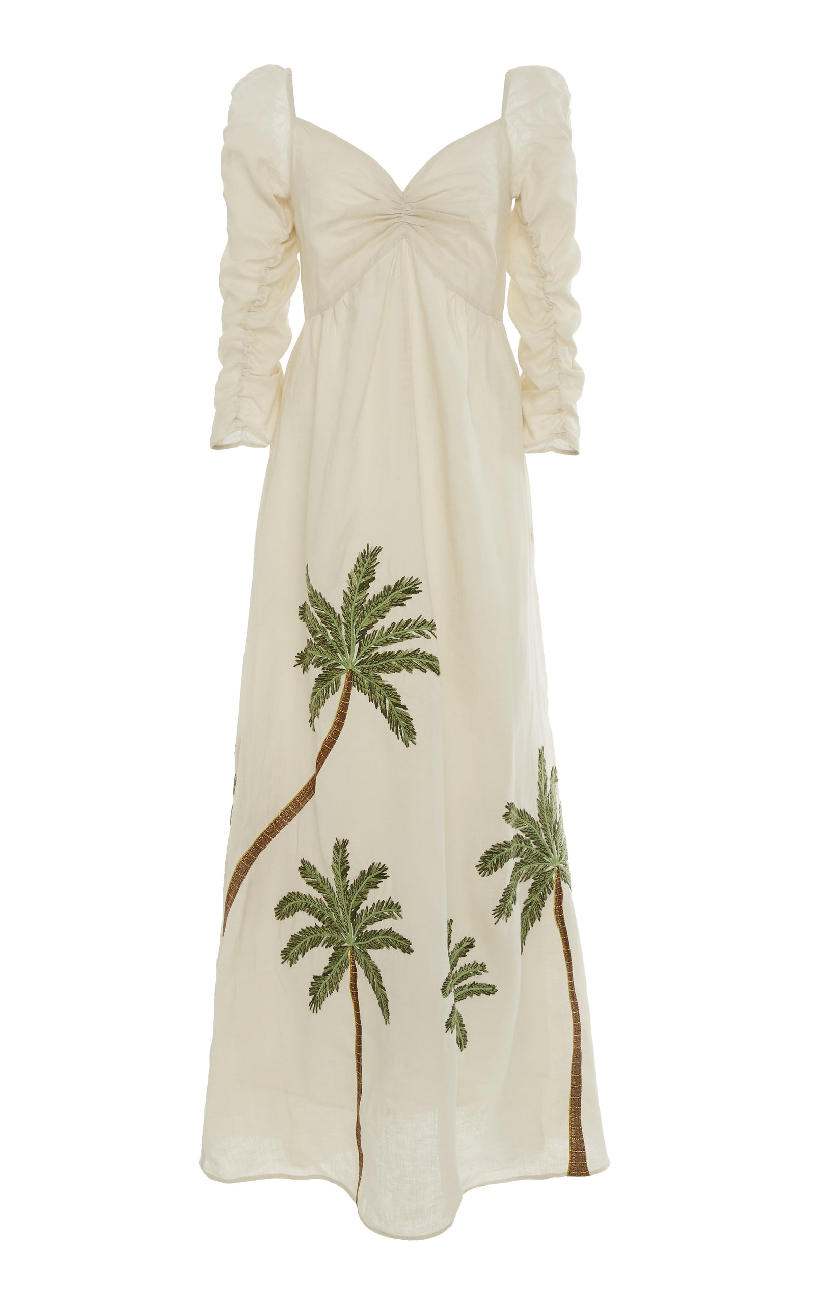AGUA BY AGUA BENDITA America Palm-Detailed Linen Dress in Neutral