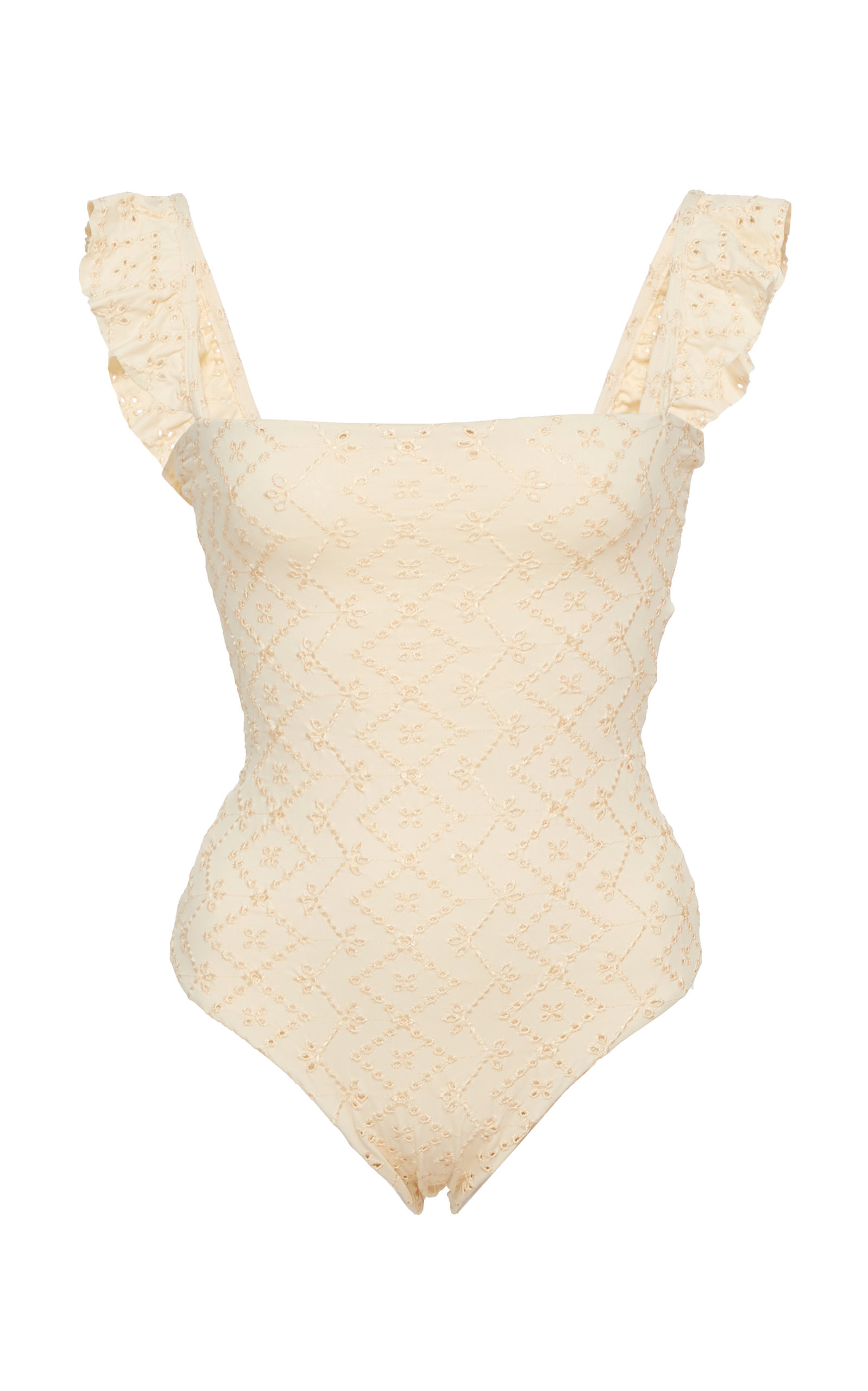 AGUA BY AGUA BENDITA Nativa Broderie Ruffled One-Piece Swimsuit in Neutral