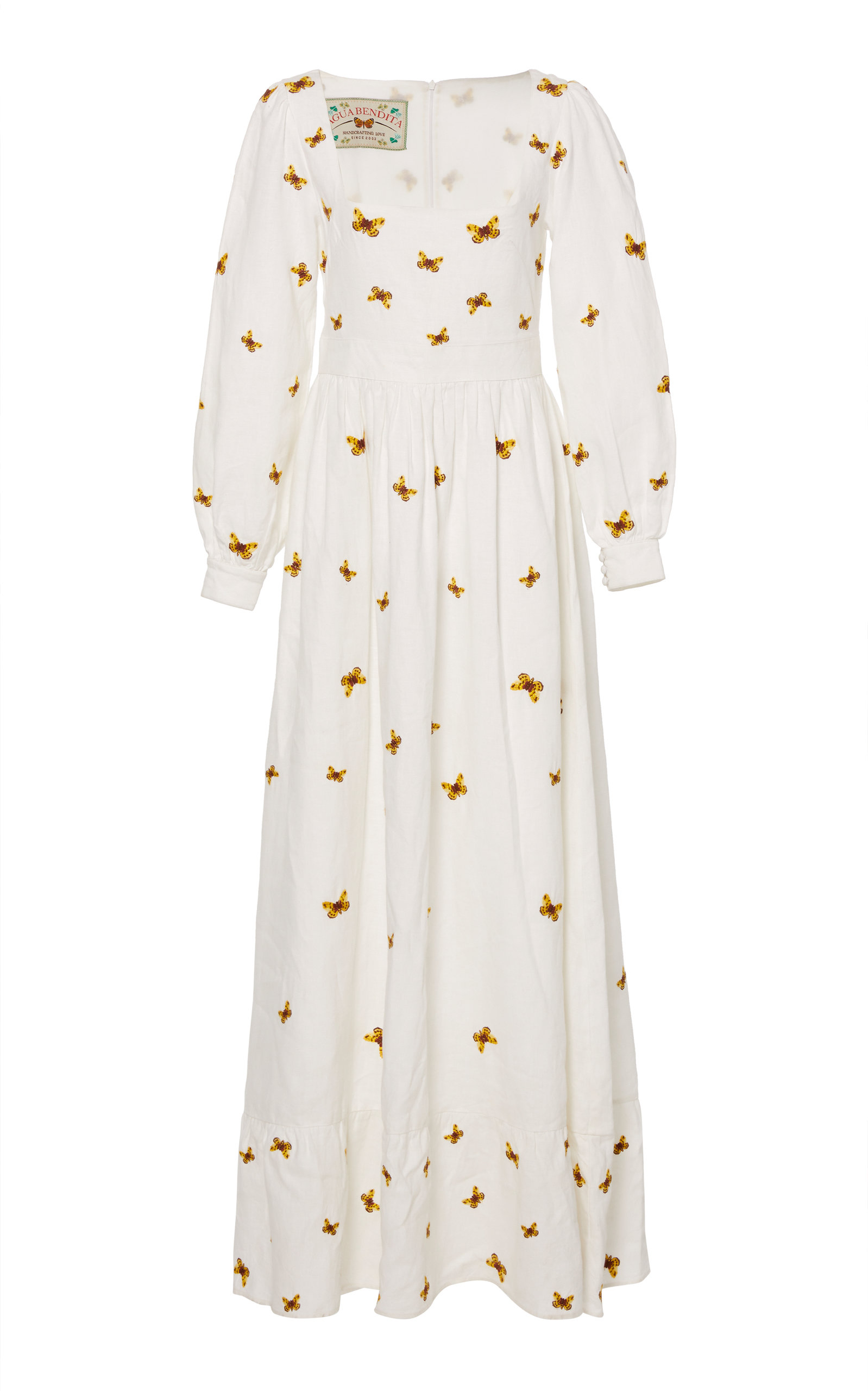 AGUA BY AGUA BENDITA Curuba Embroidered Linen Dress in White