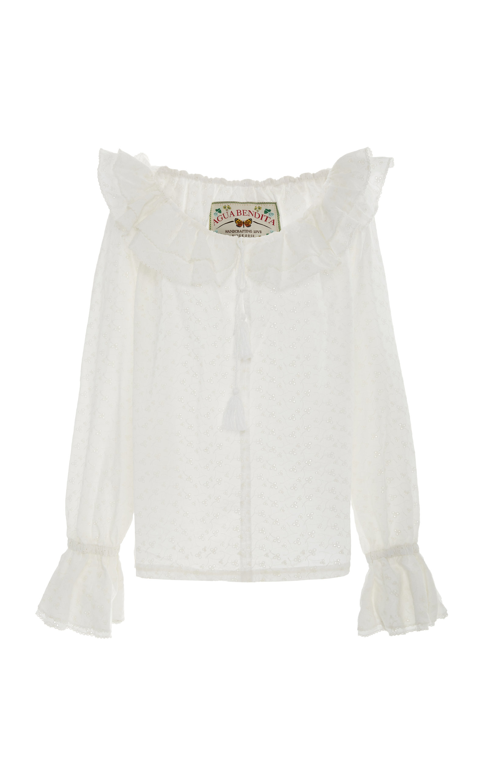 AGUA BY AGUA BENDITA Mutis Broderie Cotton Shirt in White
