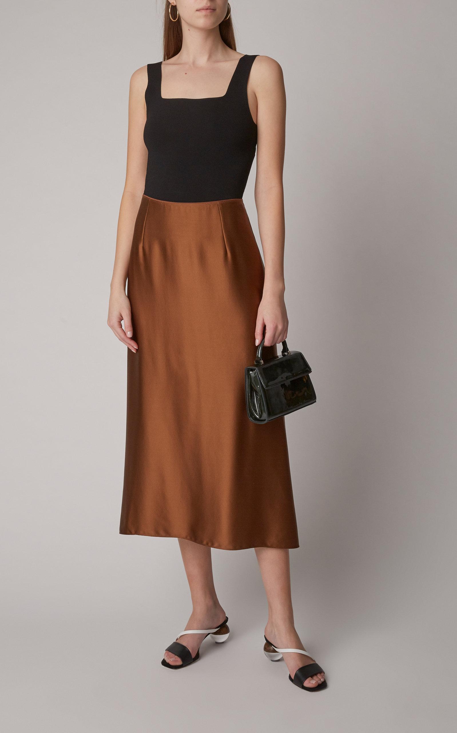 9742f8cf50 Silk-Satin Midi Skirt by Vince | Moda Operandi