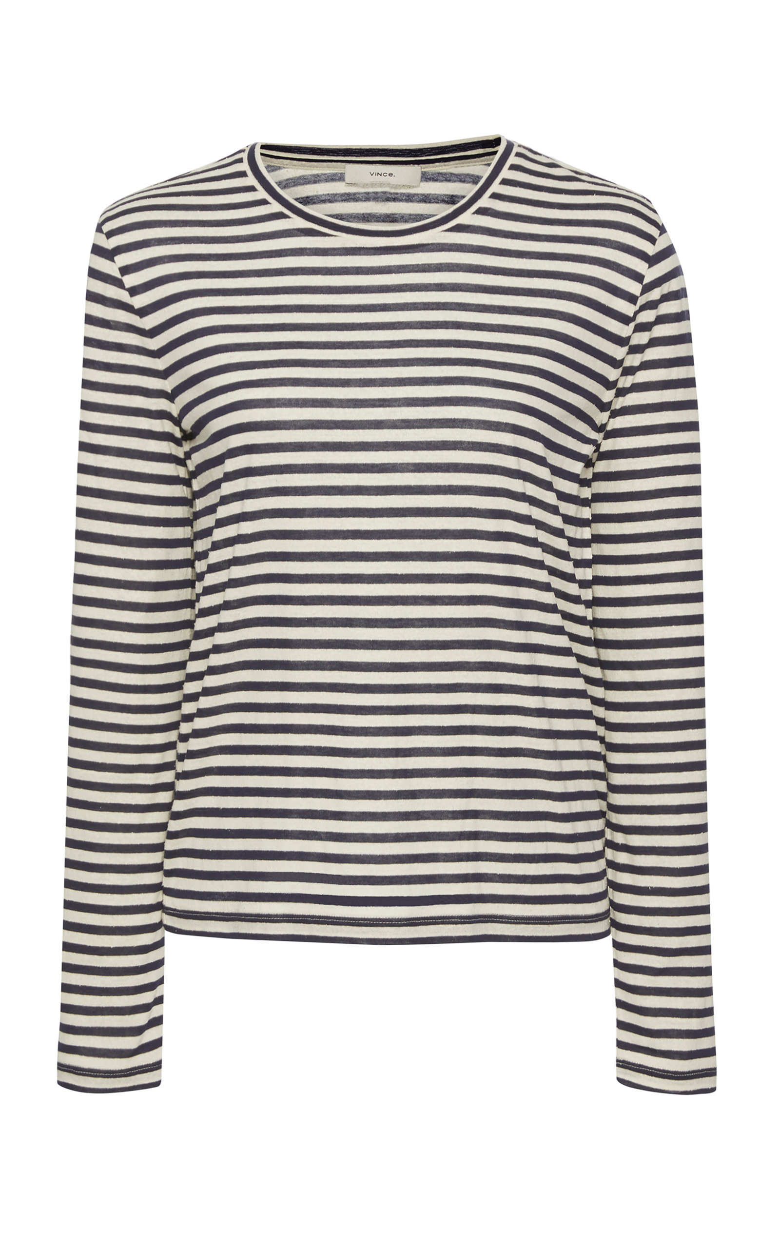 VINCE CAMUTO | Vince Striped Silk-Blend Top | Goxip