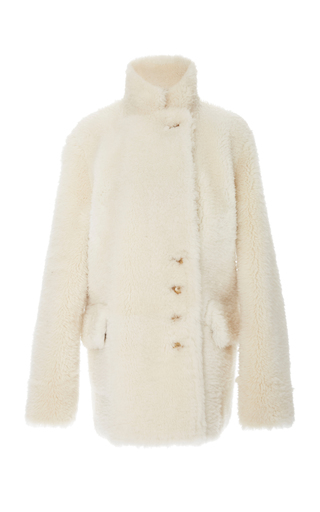 Joseph Lyne Reversible Shearling Coat In White