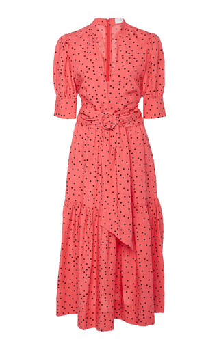 Rebecca Vallance HOLLIDAY POLKA-DOT LINEN-BLEND MIDI DRESS
